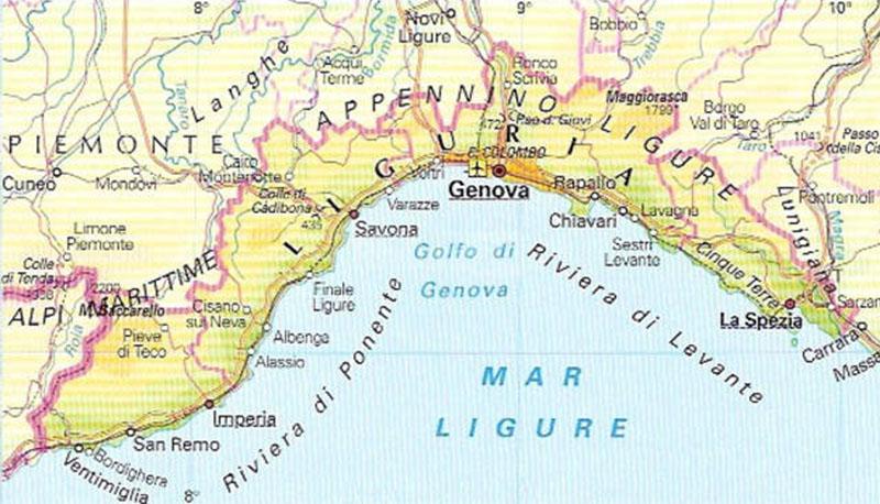 Cartina Della Liguria Politica.Descrizione Della Liguria