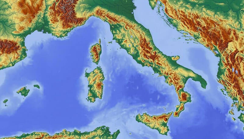 Foto Della Cartina Fisica Dell Italia.Italia Fisica Descrizione Della Penisola Italiana