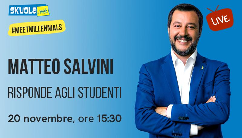 Matteo Salvini torna a Skuola.net per parlare agli studenti