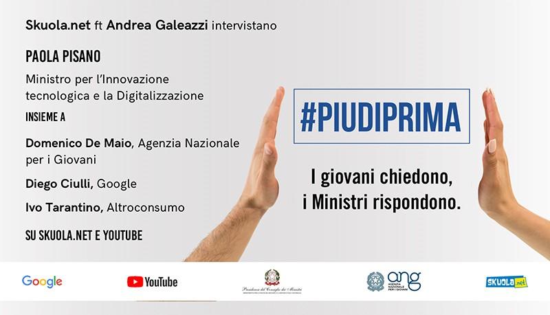 #Piudiprima: i giovani chiedono, i Ministri rispondono – Skuola Tv con la Ministra Pisano e Andrea Galeazzi