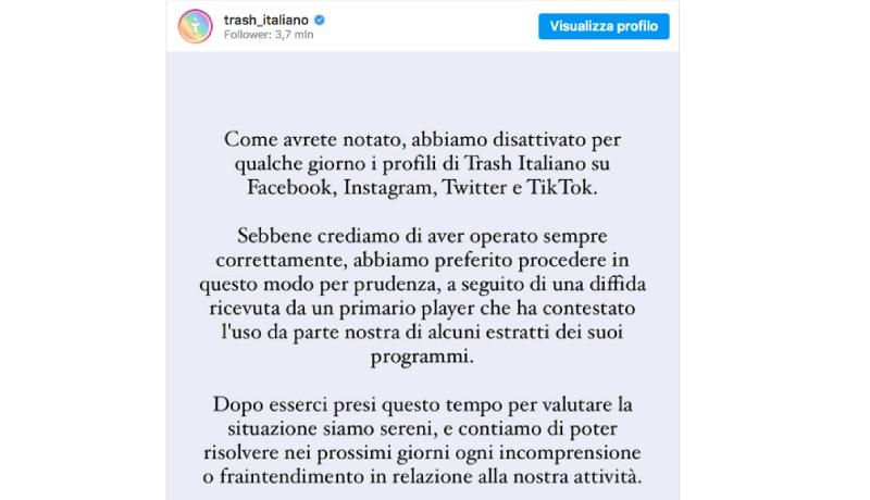 Trash Italiano, ecco perché era stato chiuso: il motivo sarebbe un'azione legale