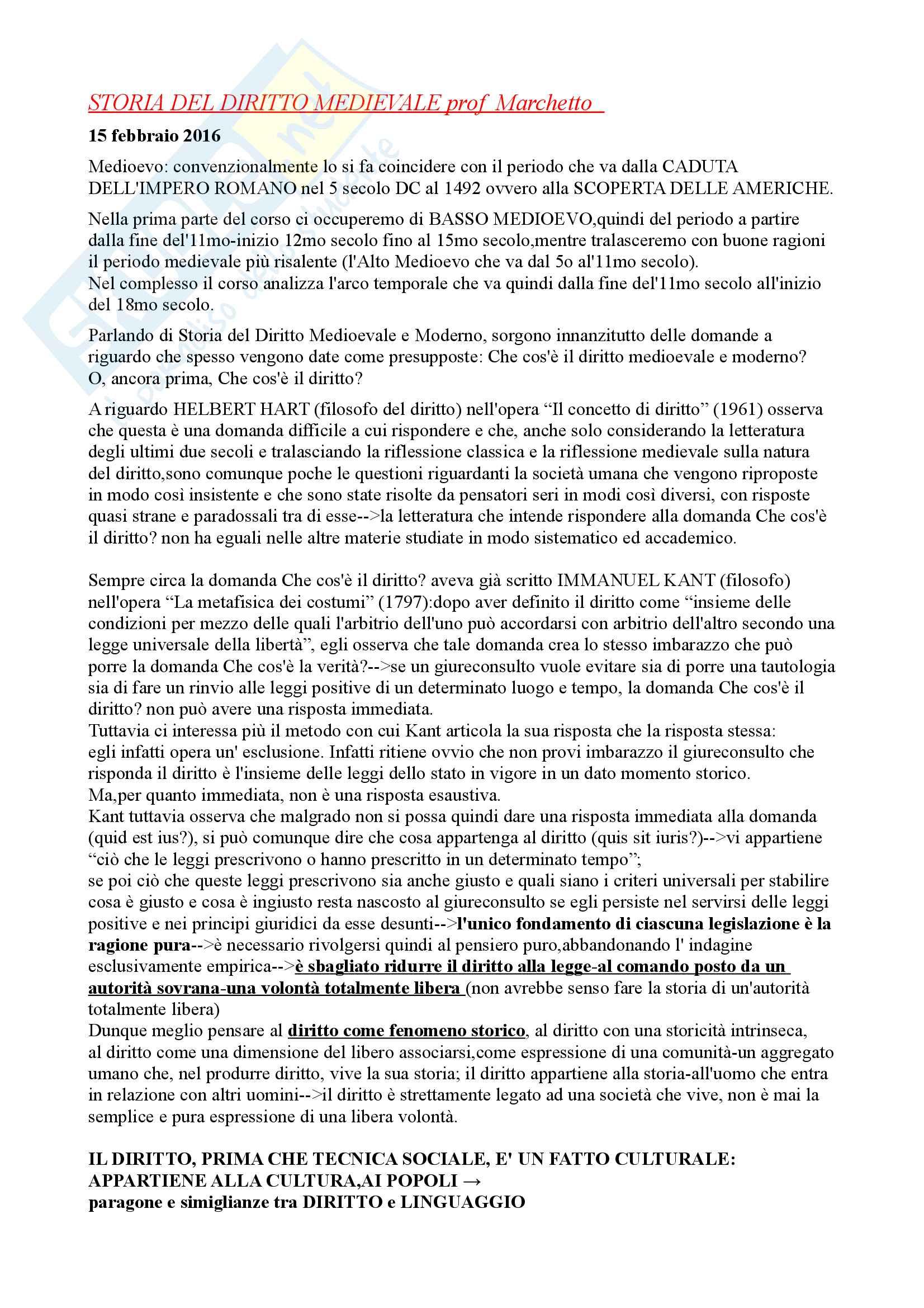 Appunti lezioni prof. Marchetto e Zendri Trento Unitn A/L 2016 Storia del diritto medievale e moderno 1