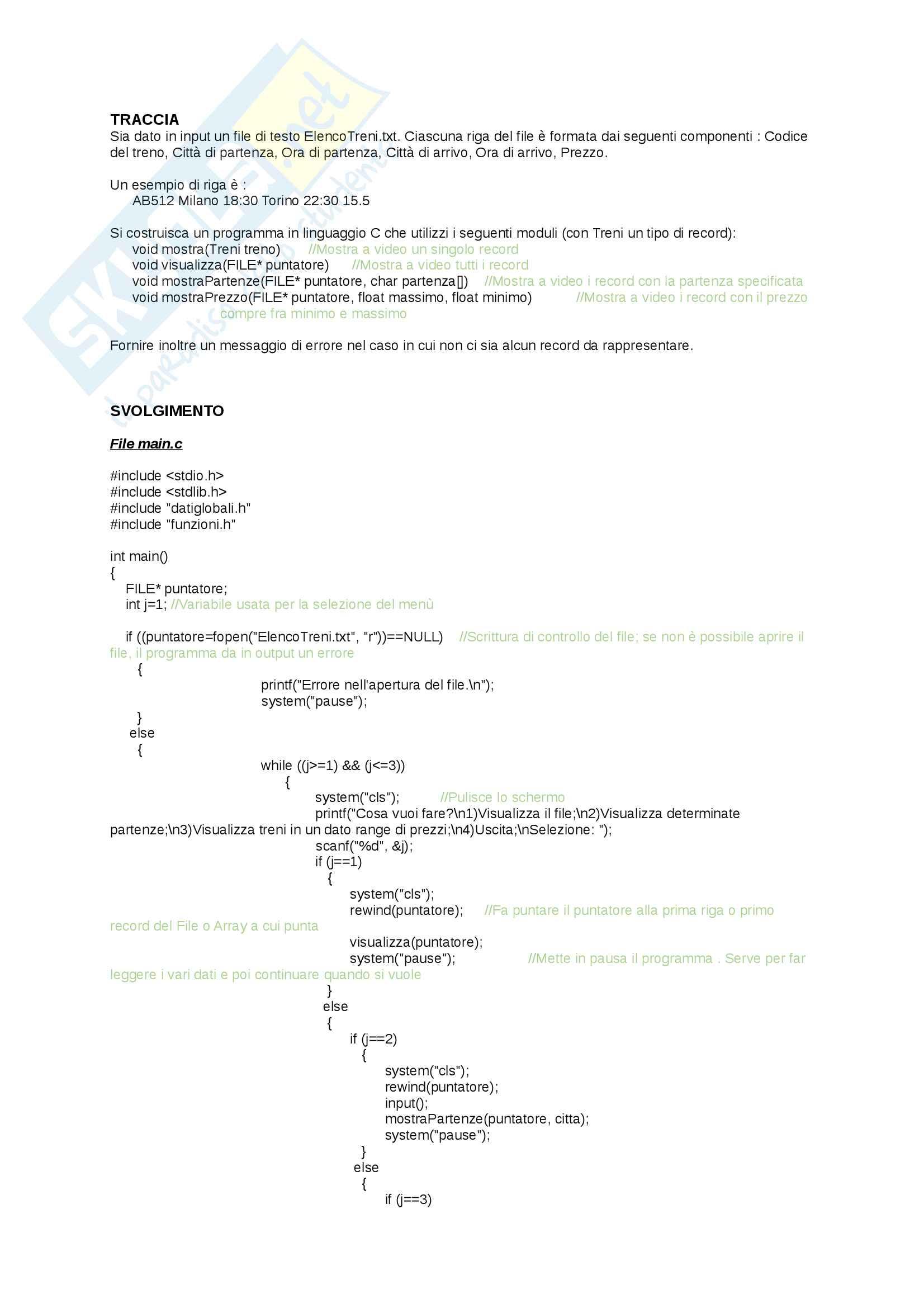 Esercitazione sui file di testo - Con soluzione