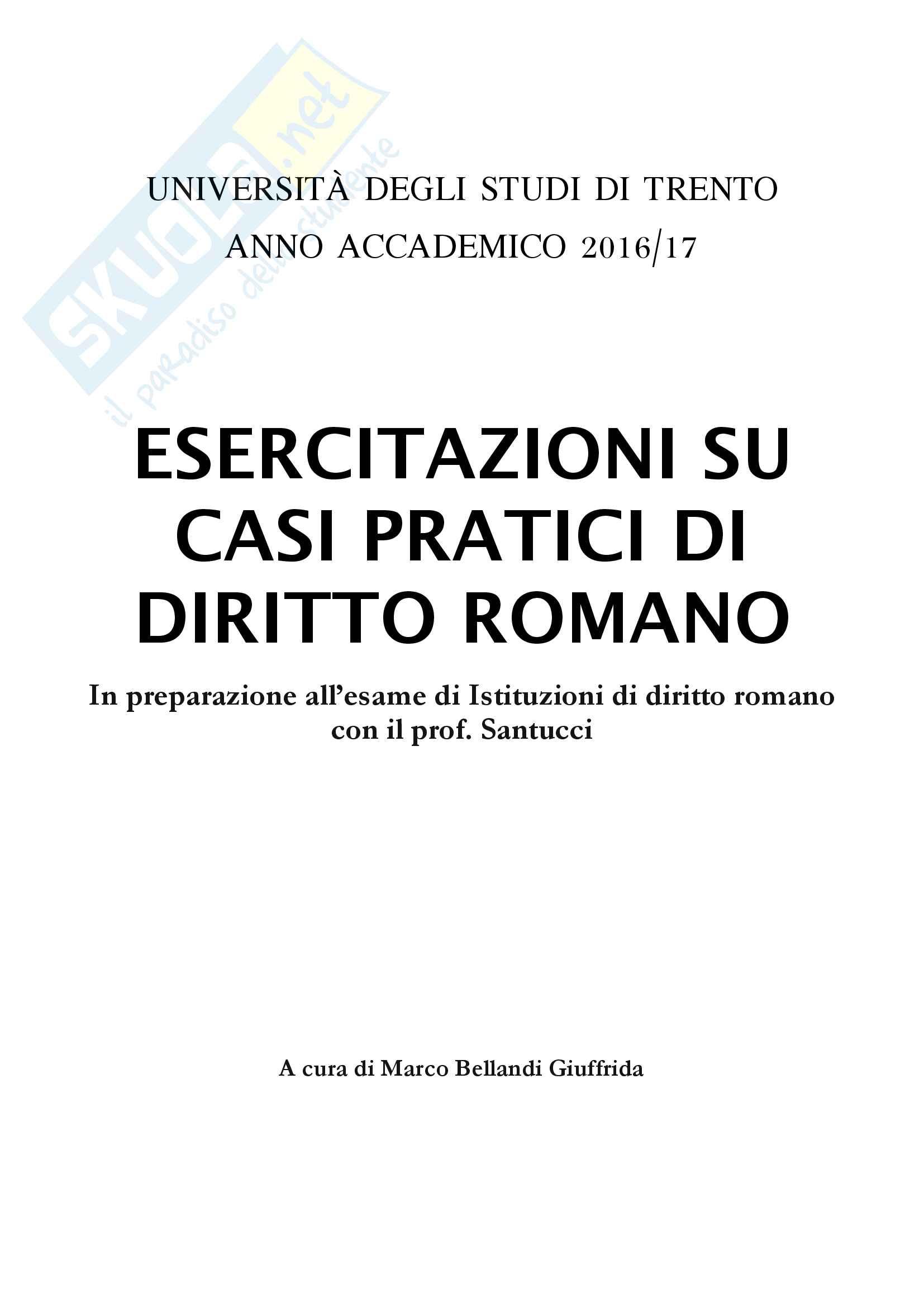 Esercitazioni su casi pratici di diritto romano