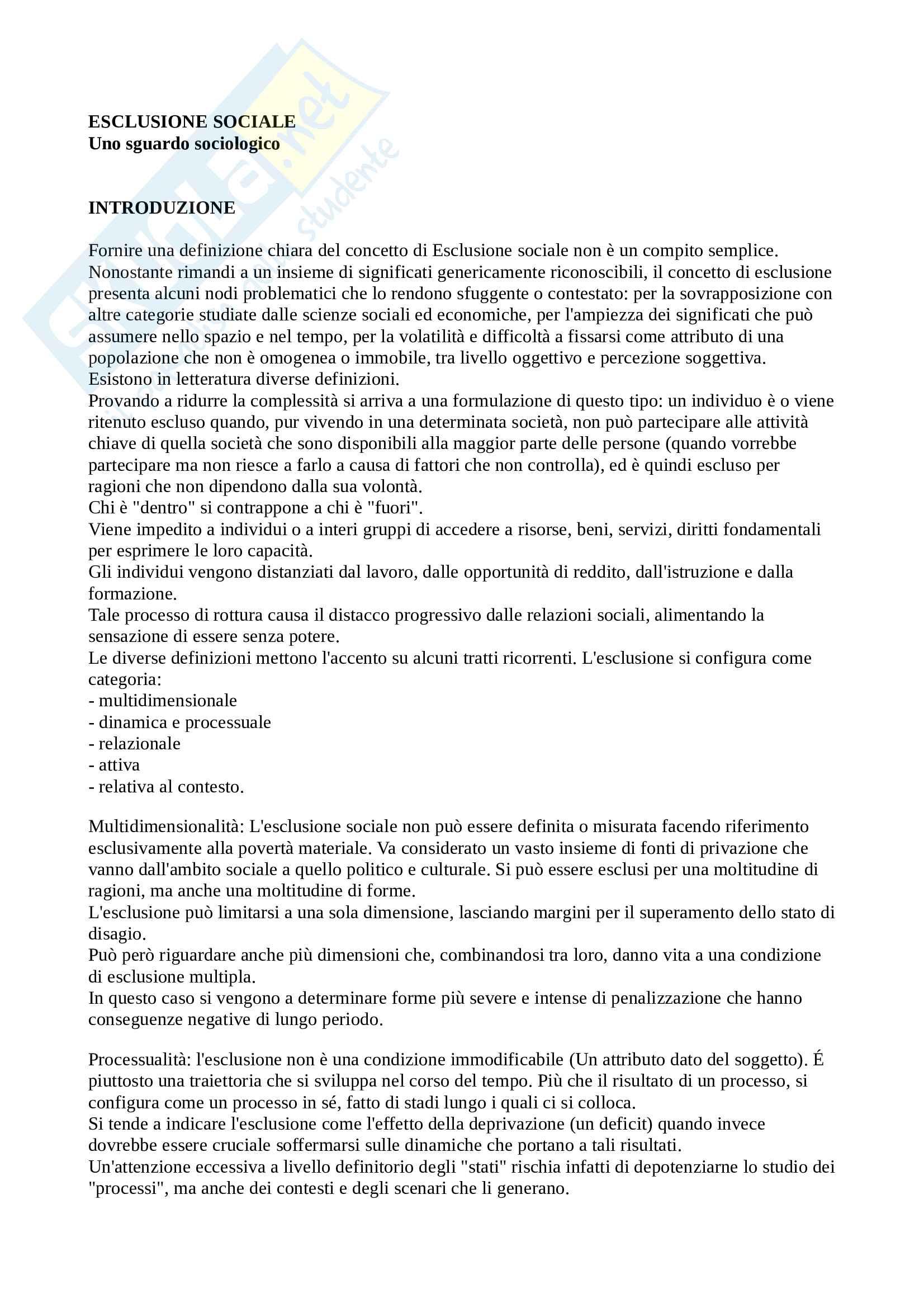Riassunto esame Sociologia dei processi inclusione ed esclusione sociale, prof Tuorto, libro consigliato Esclusione Sociale, Tuorto