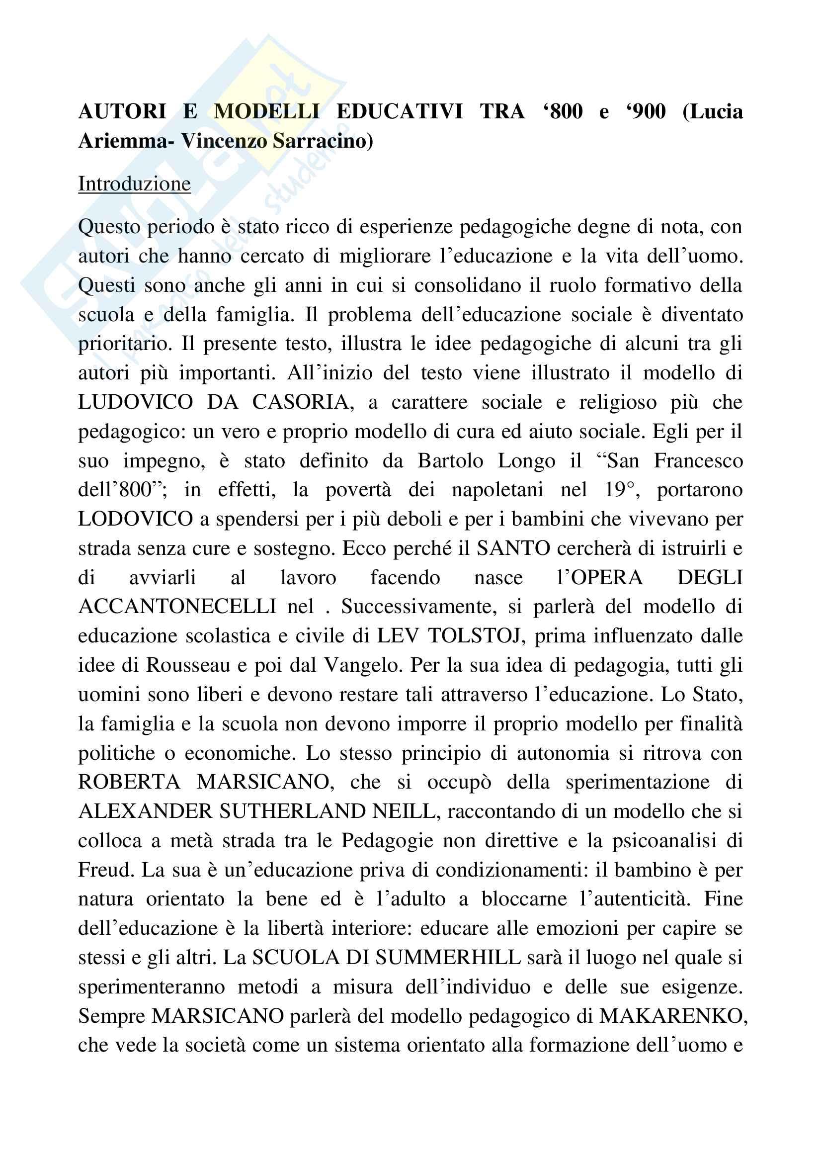 Riassunto esame pedagogia generale, docente Sarracino, libro consigliato Autori e modelli educativi tra '800 e '900, Ariemma, Sarracino