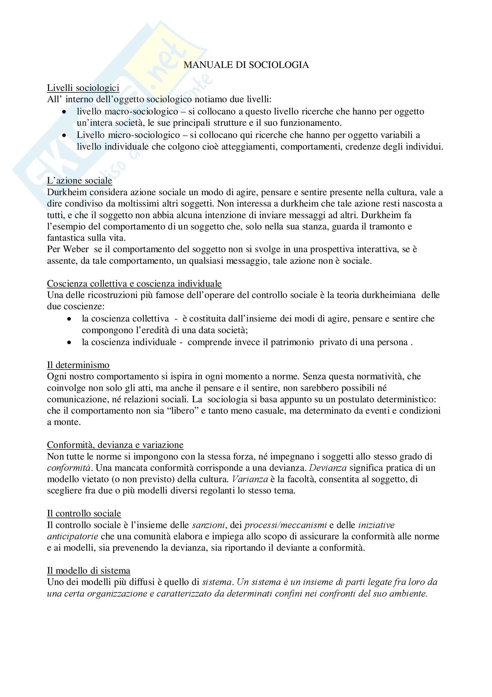 appunto L. Rossi Sociologia generale