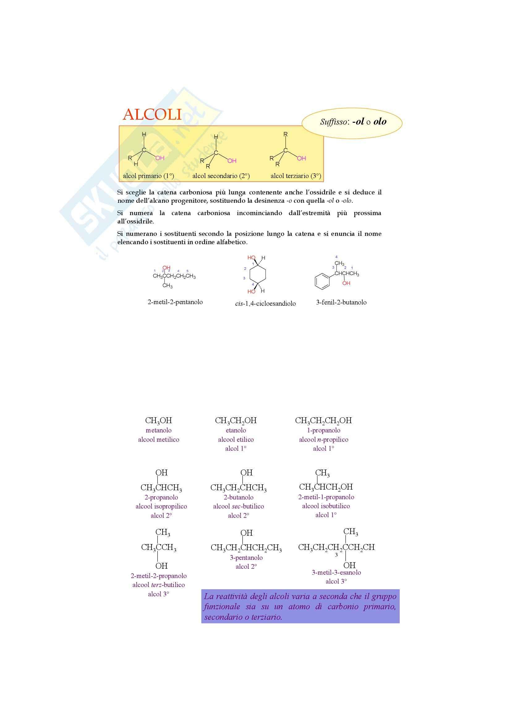 Chimica organica - alcoli e eteri