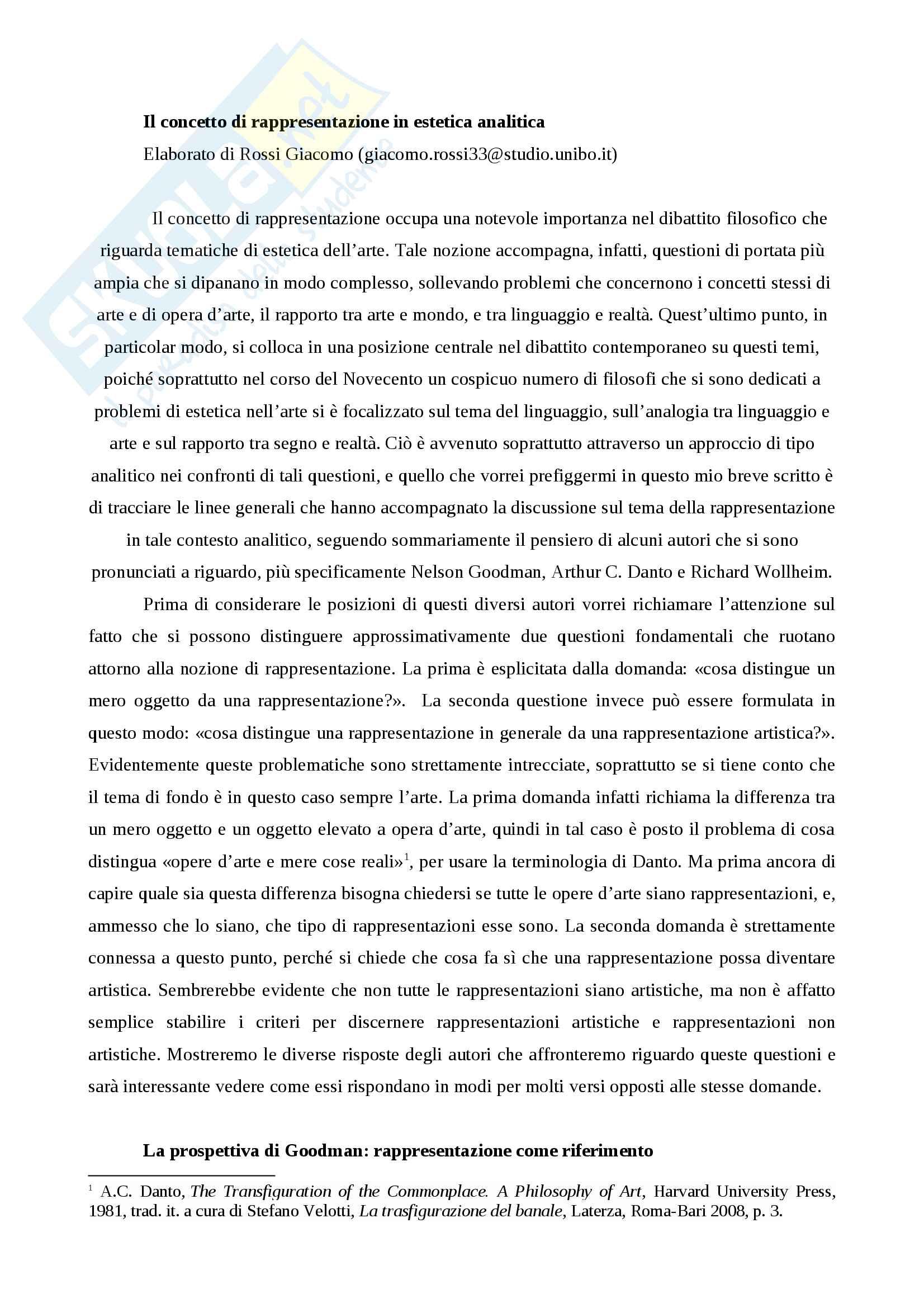 Riassunto esame Estetica contemporeanea, prof. Matteucci, libri consigliati I linguaggi dell'arte, Goodman, La trasfigurazione del banale, Danto,  L'arte e i suoi oggetti, Wollheim