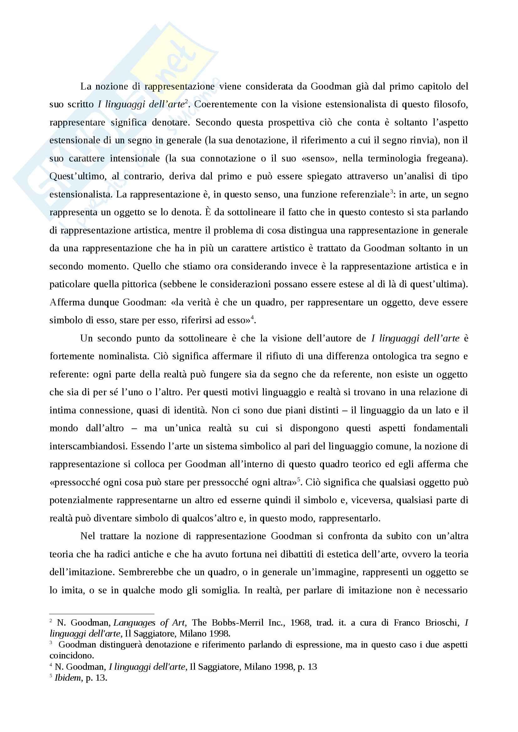 Riassunto esame Estetica contemporeanea, prof. Matteucci, libri consigliati I linguaggi dell'arte, Goodman, La trasfigurazione del banale, Danto,  L'arte e i suoi oggetti, Wollheim Pag. 2