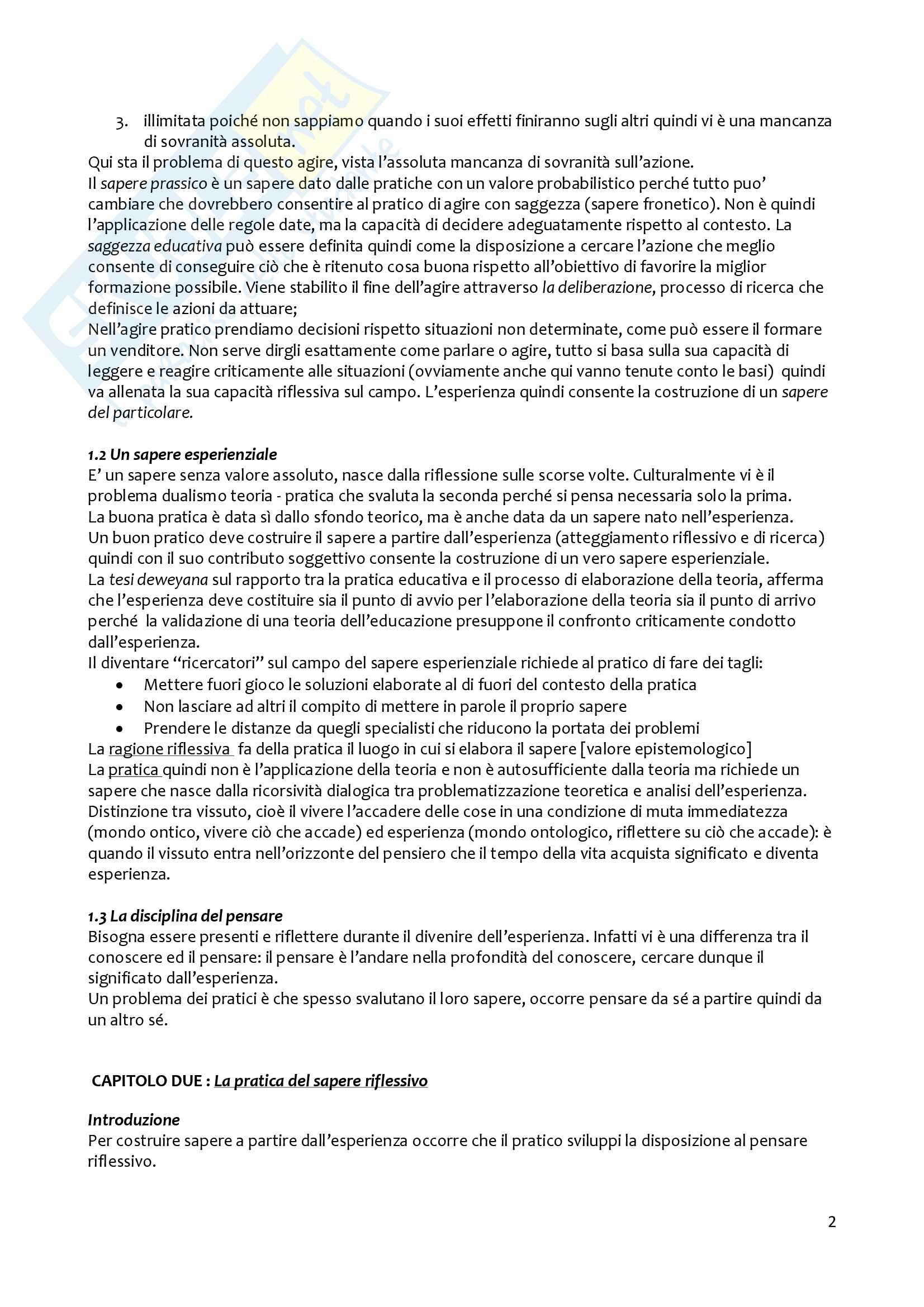Riassunto esame metodologia della ricerca pedagogica, prof. Girelli, libro consigliato Apprendere dall'esperienza della Mortari Pag. 2