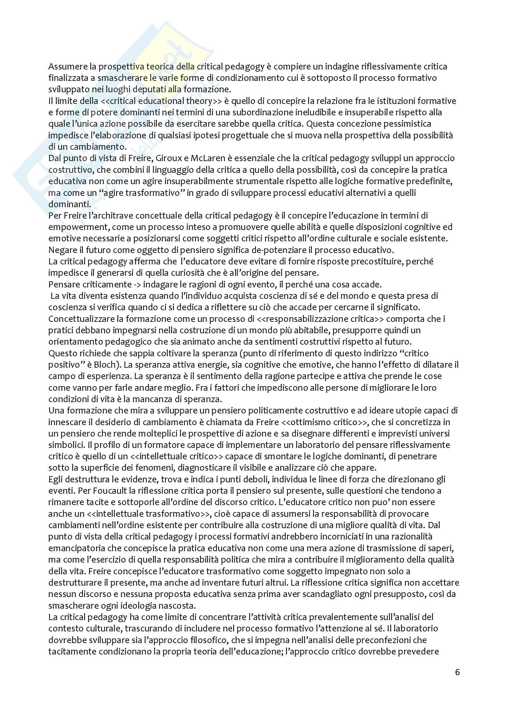 Riassunto esame metodologia della ricerca pedagogica, prof. Girelli, libro consigliato Apprendere dall'esperienza della Mortari Pag. 6