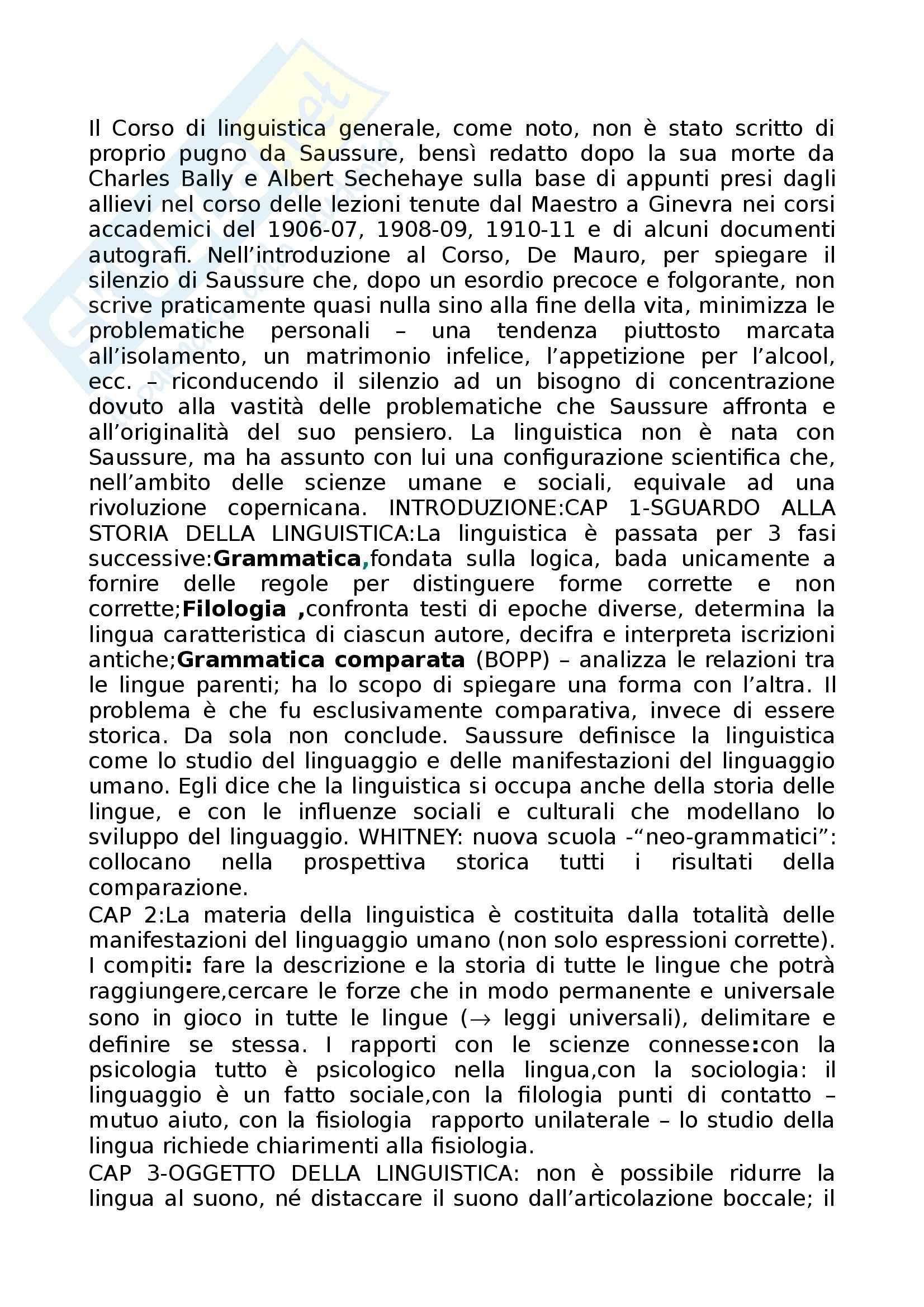 Riassunto esame Linguistica Generale, prof. Assenza, libro consigliato Corso di linguistica generale, de Saussure
