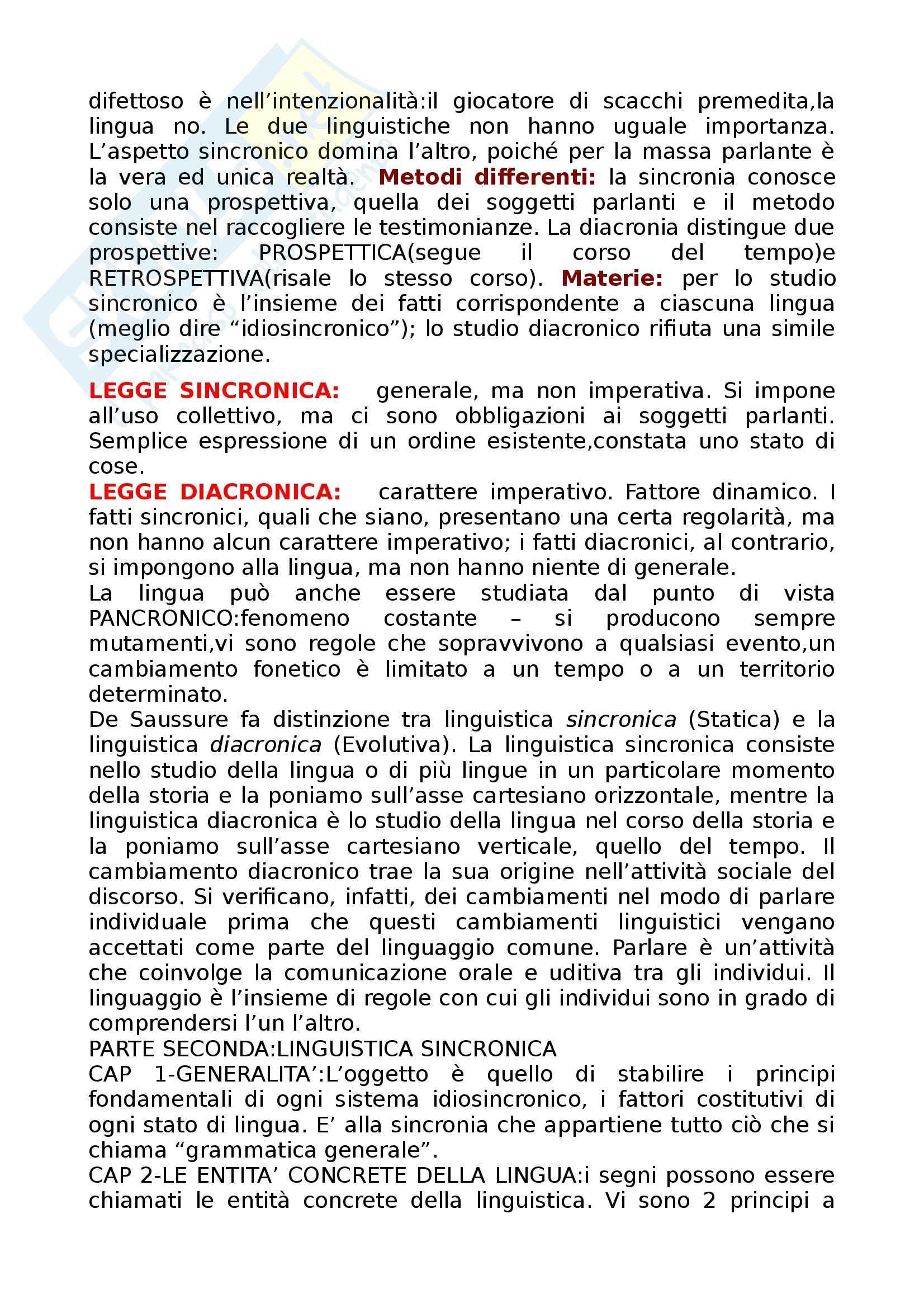 Riassunto esame Linguistica Generale, prof. Assenza, libro consigliato Corso di linguistica generale, de Saussure Pag. 6
