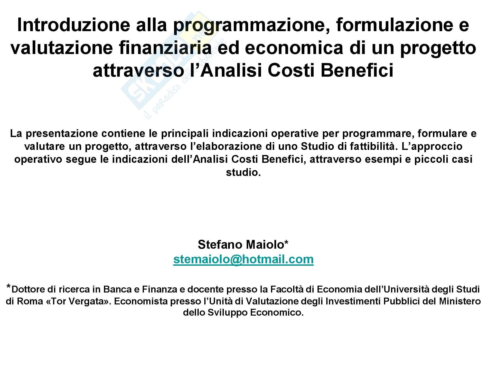 Valutazione finanziaria e analisi costi benefici di un progetto