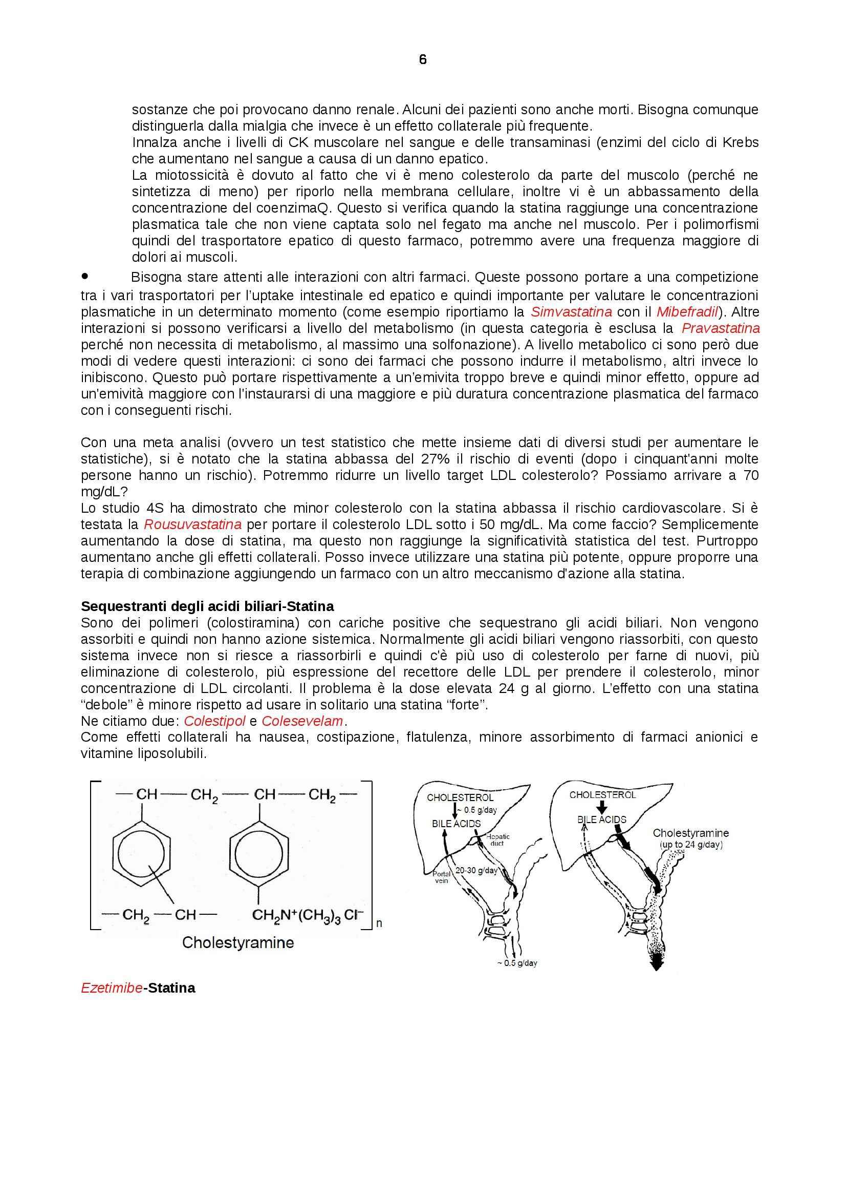Farmacologia - dislipidemie, colesterolo, statine Pag. 6