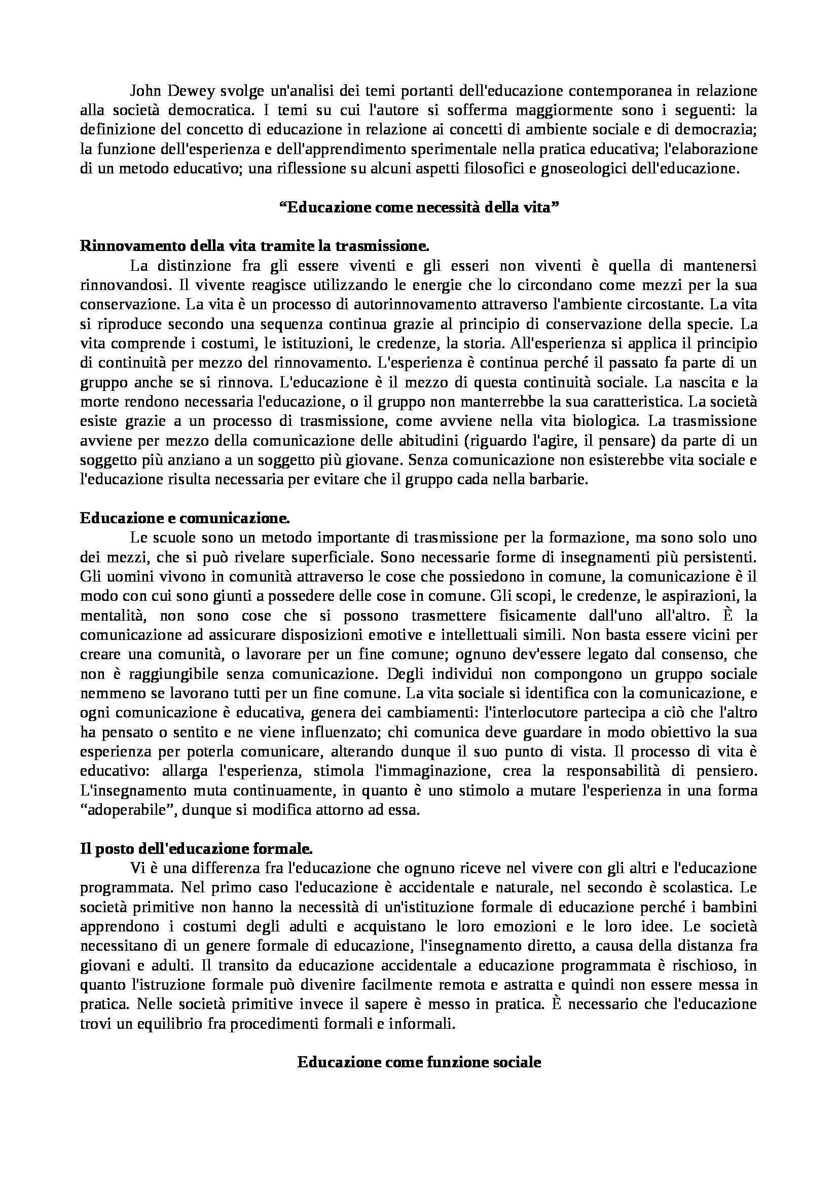 Riassunto esame Pedagogia generale, prof. Colicchi, libro consigliato Democrazia e educazione, Dewey