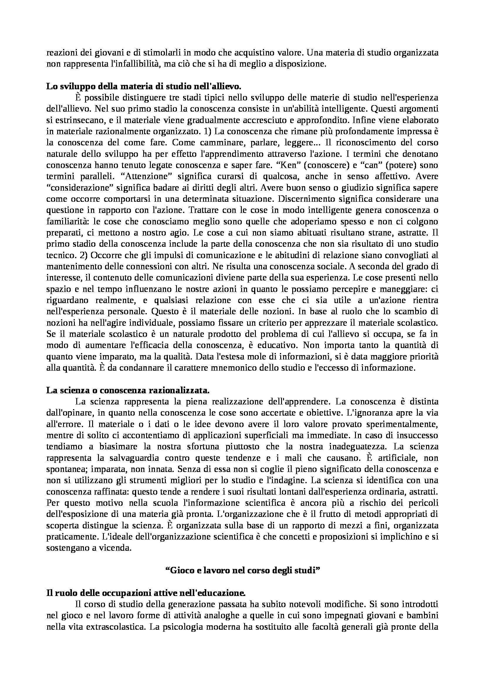 Riassunto esame Pedagogia generale, prof. Colicchi, libro consigliato Democrazia e educazione, Dewey Pag. 16