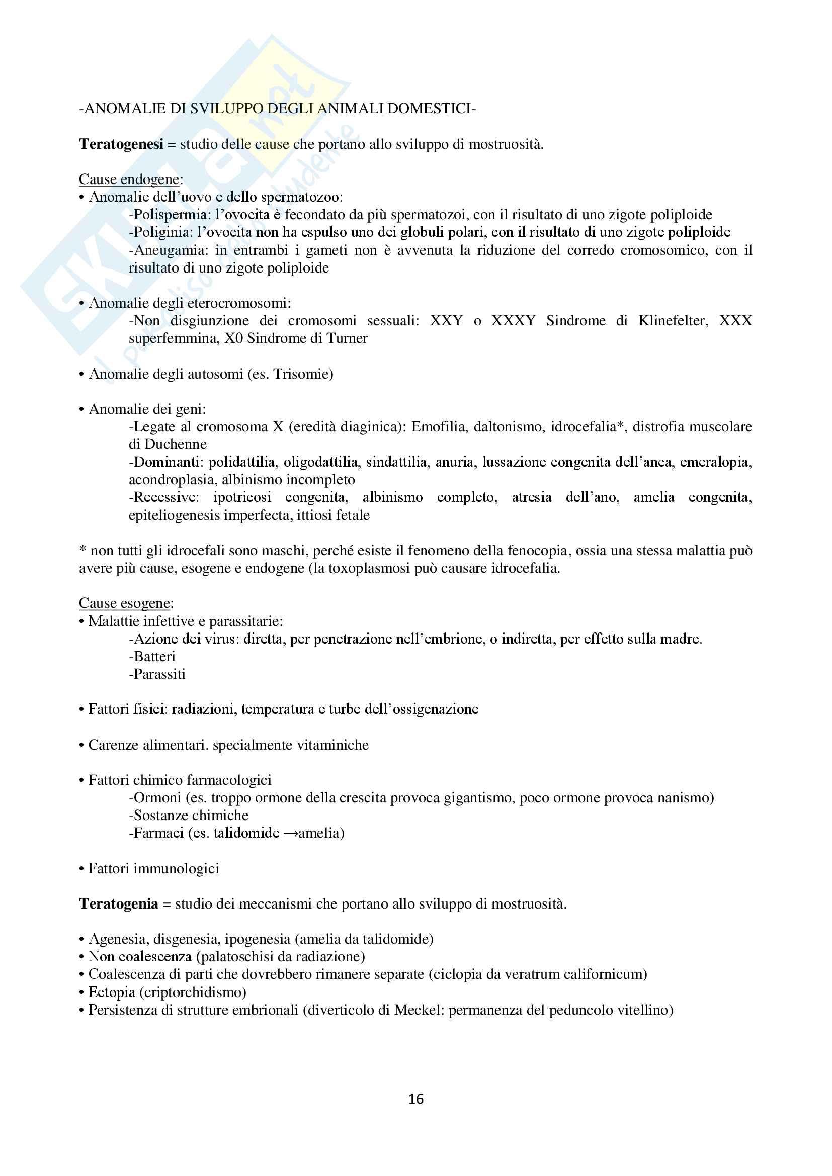 Appunti Embriologia generale e speciale veterinaria ed Anomalie di sviluppo degli animali domestici Pag. 16