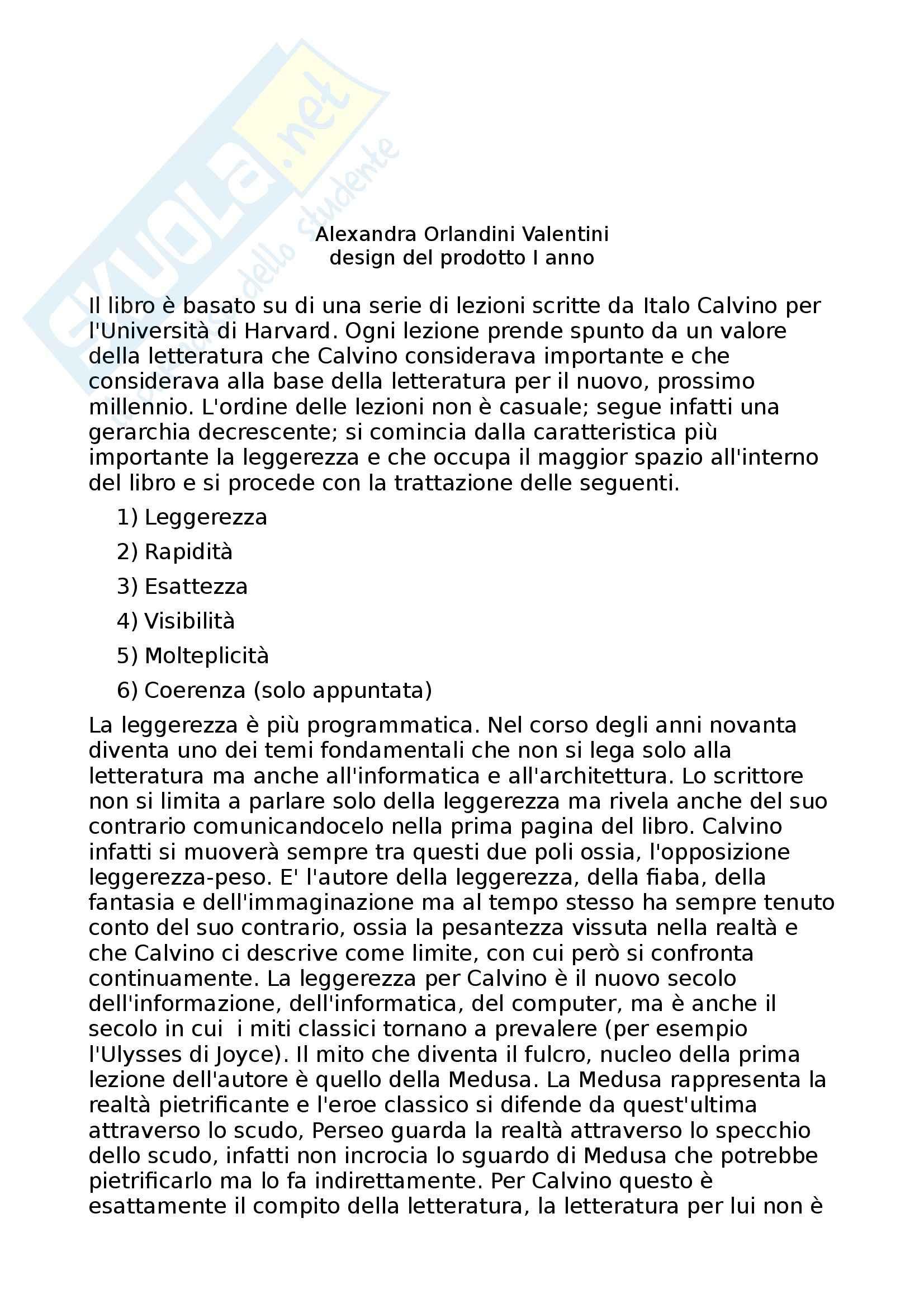 Riassunto esame Design di prodotto, prof. Corrado, libro consigliato Lezioni Americane, Calvino