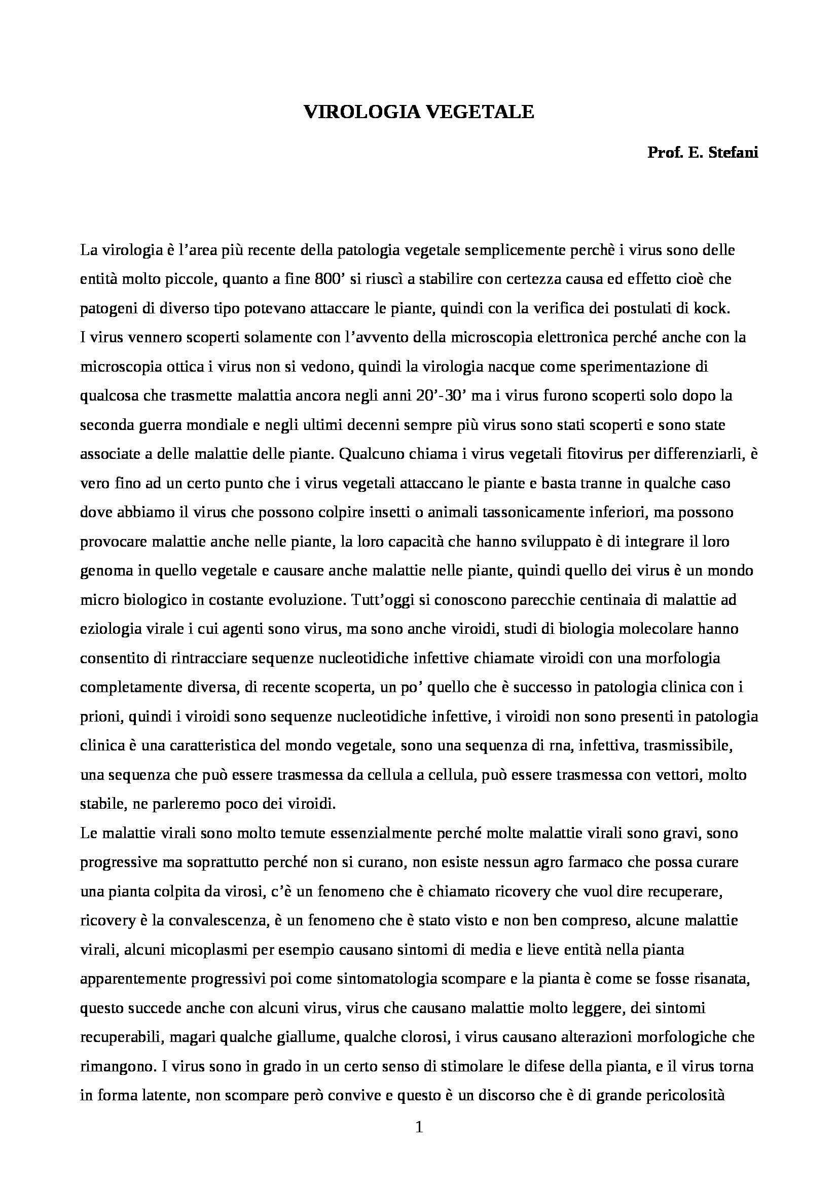 appunto E. Stefani Virologia vegetale
