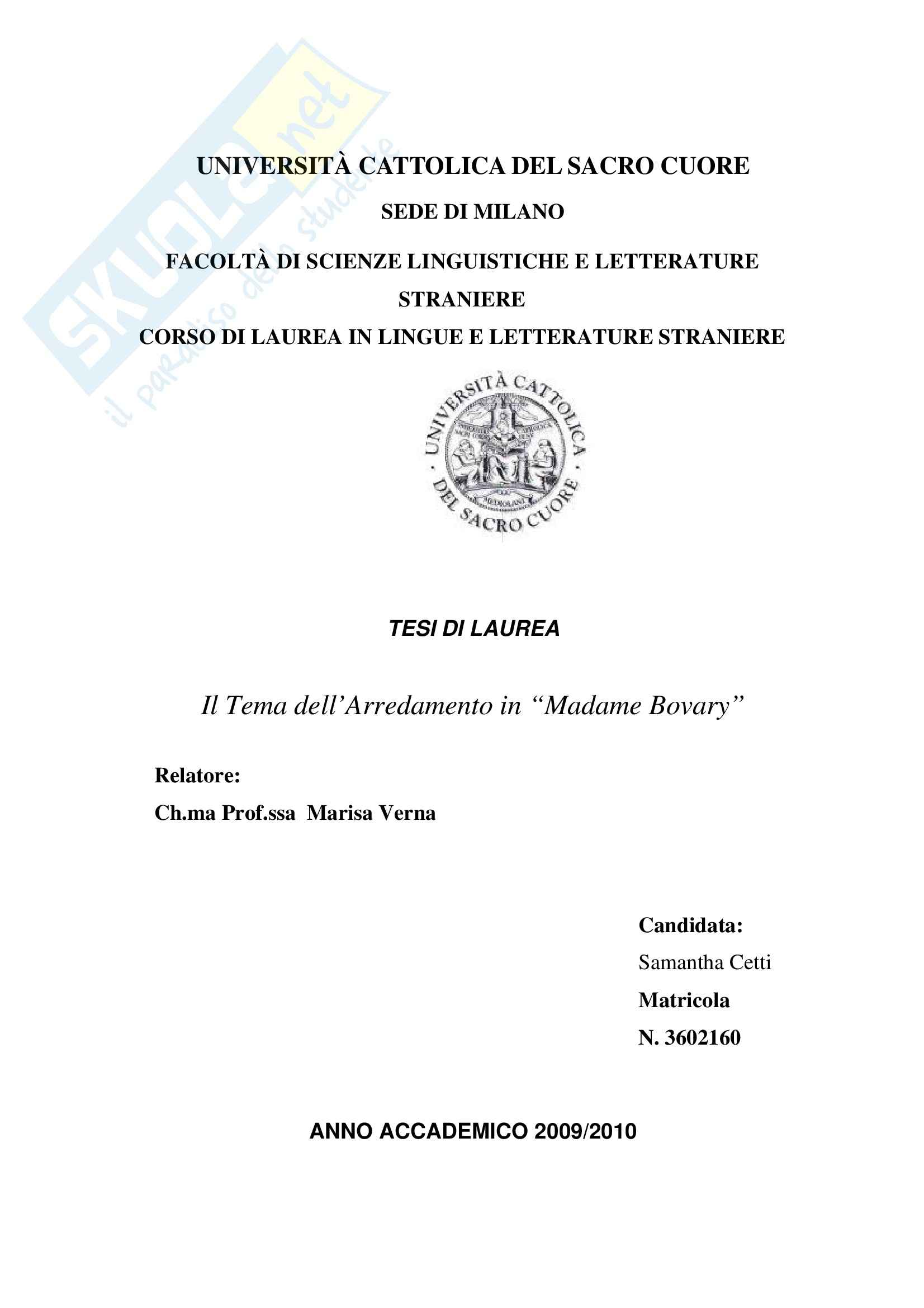 Tesi, Flaubert: il Tema dell'arredamento in Madame Bovary