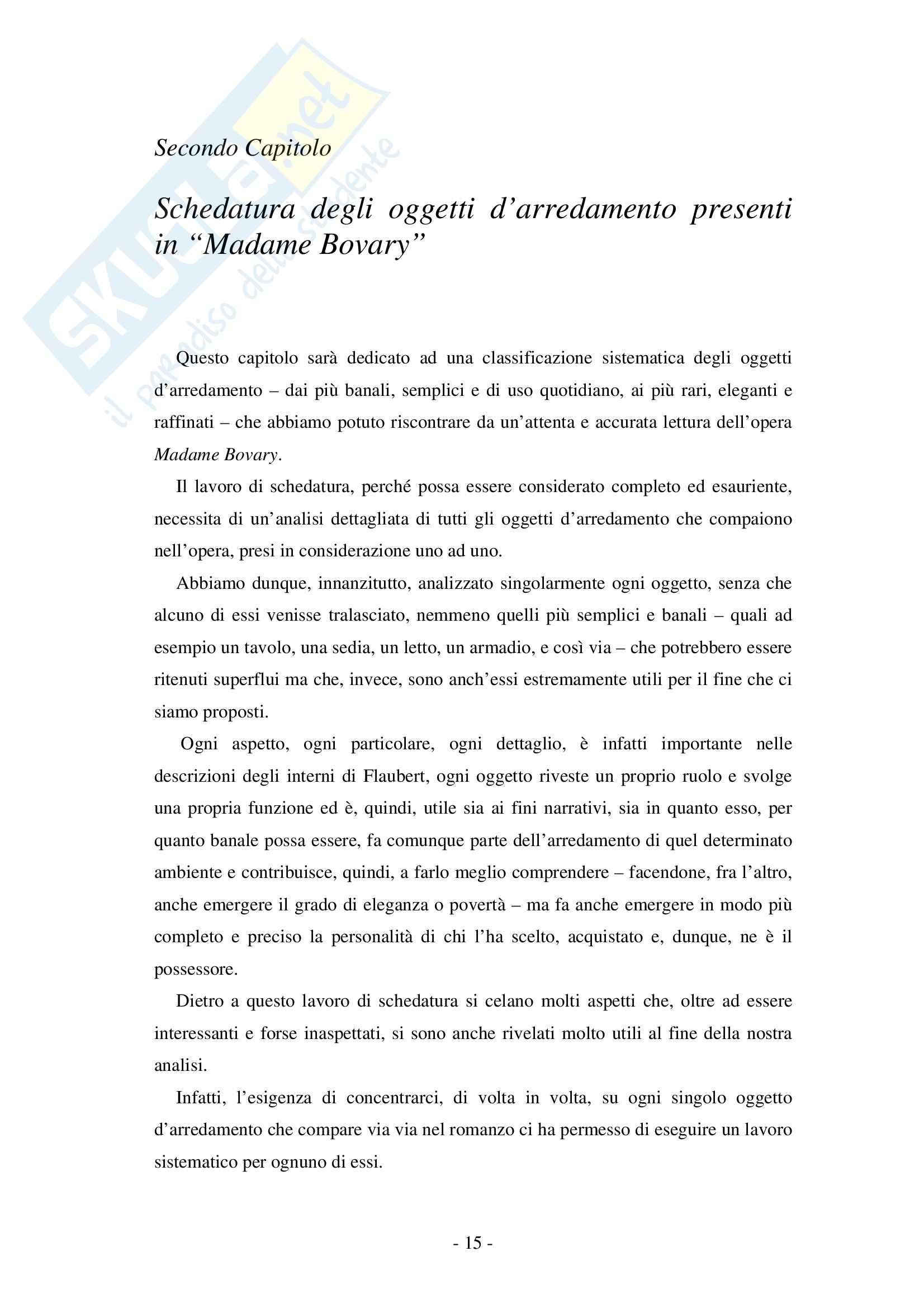 Tesi, Flaubert: il Tema dell'arredamento in Madame Bovary Pag. 16
