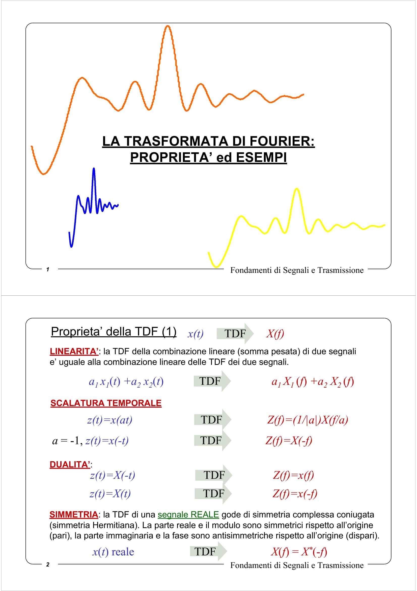 Trasformata di Fourier - Proprietà ed esempi