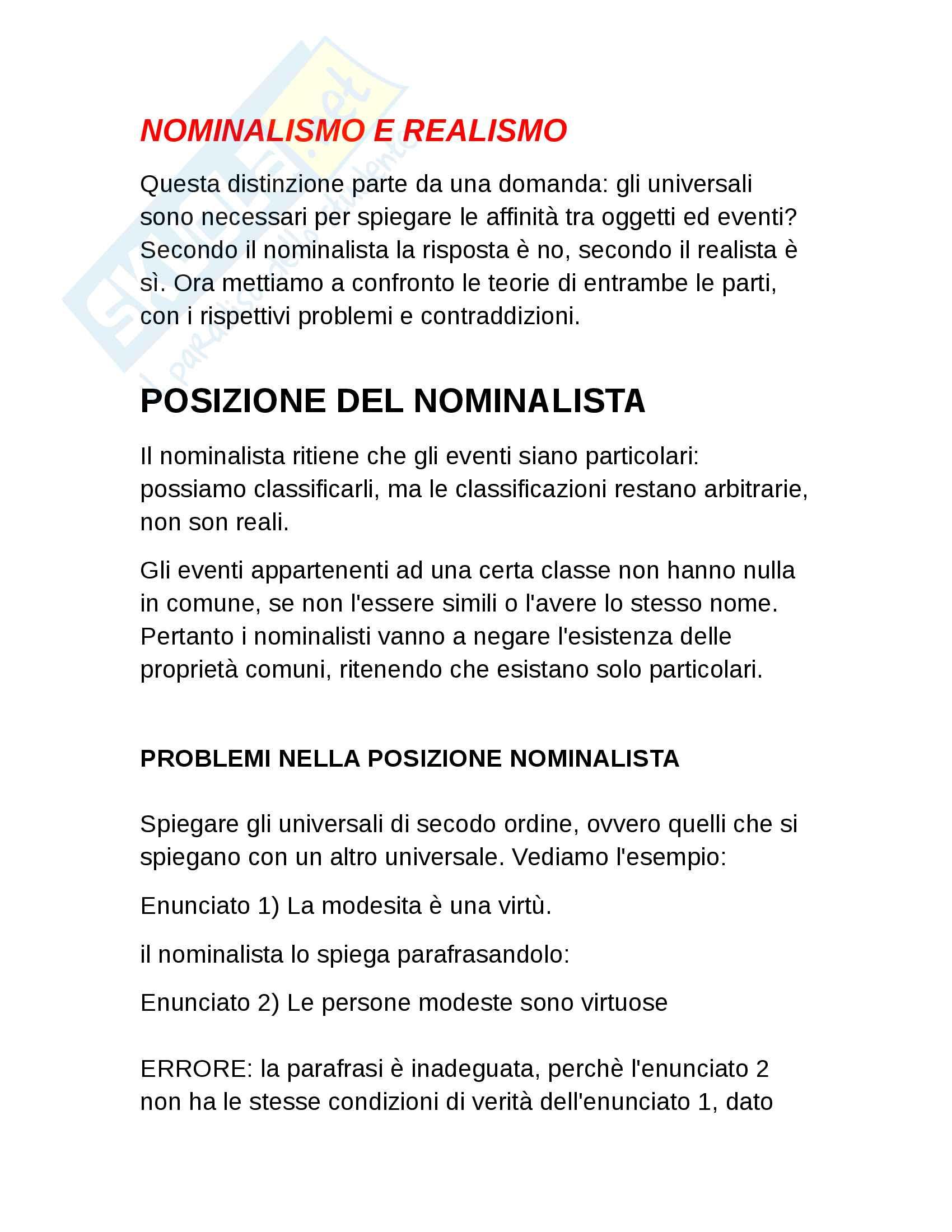 Nominalismo e realismo