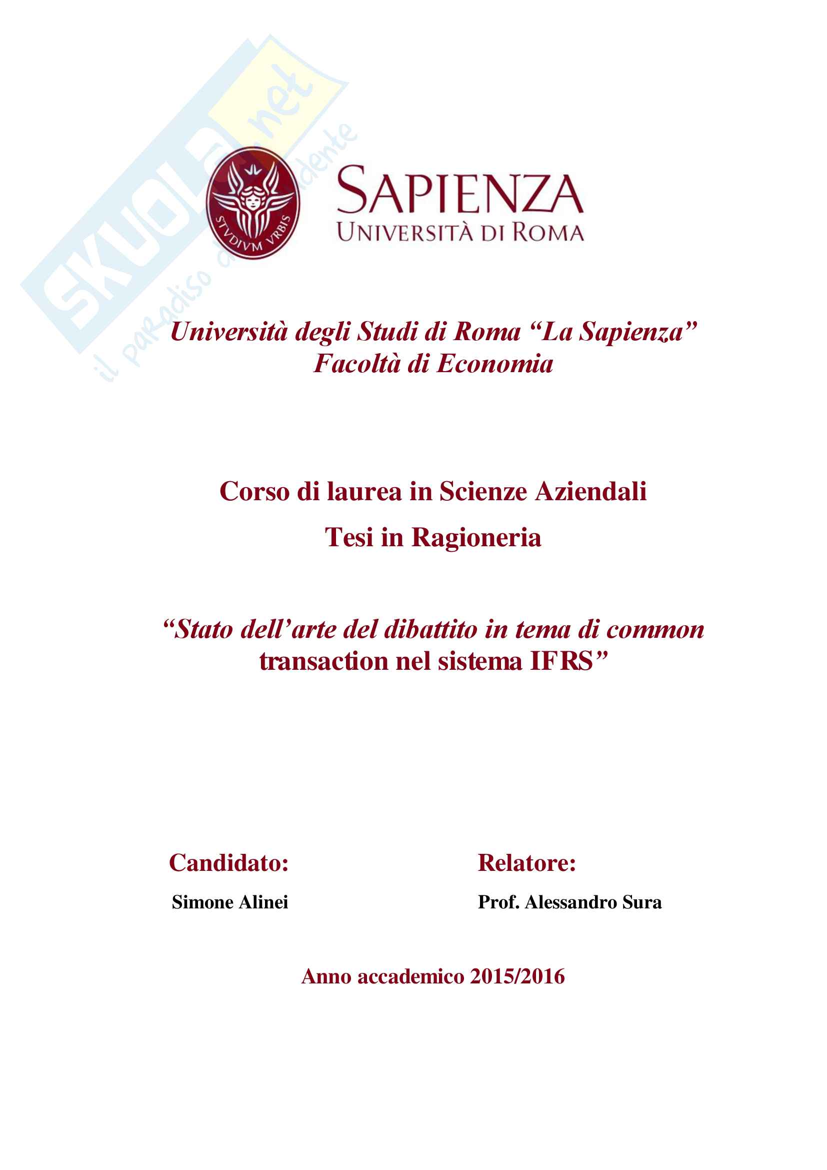 Tesi sulle BCUCC all'interno dell'IFRS 3