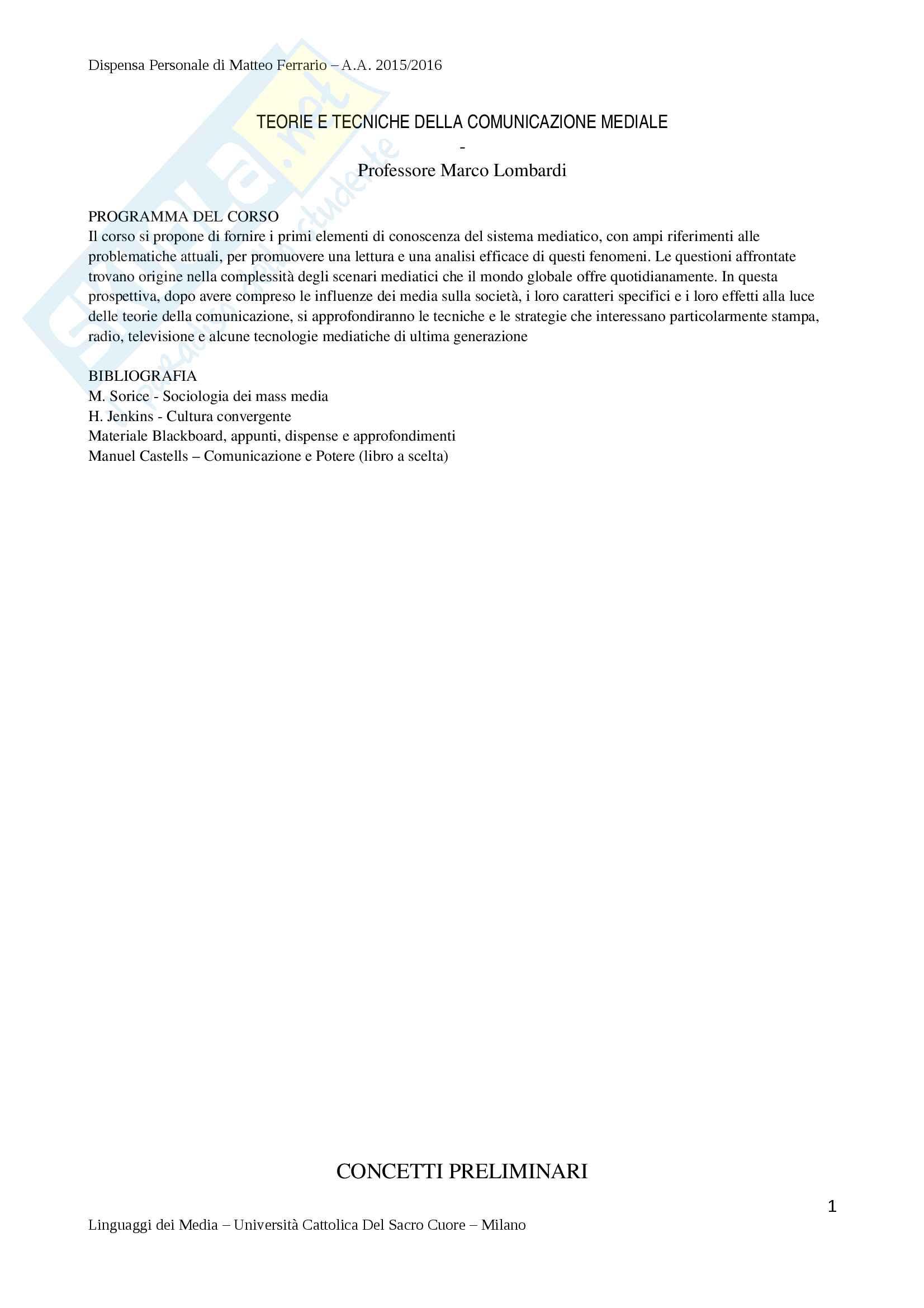 Riassunto Esame di Teorie e Tecniche della Comunicazione Mediale - Prof. Lombardi