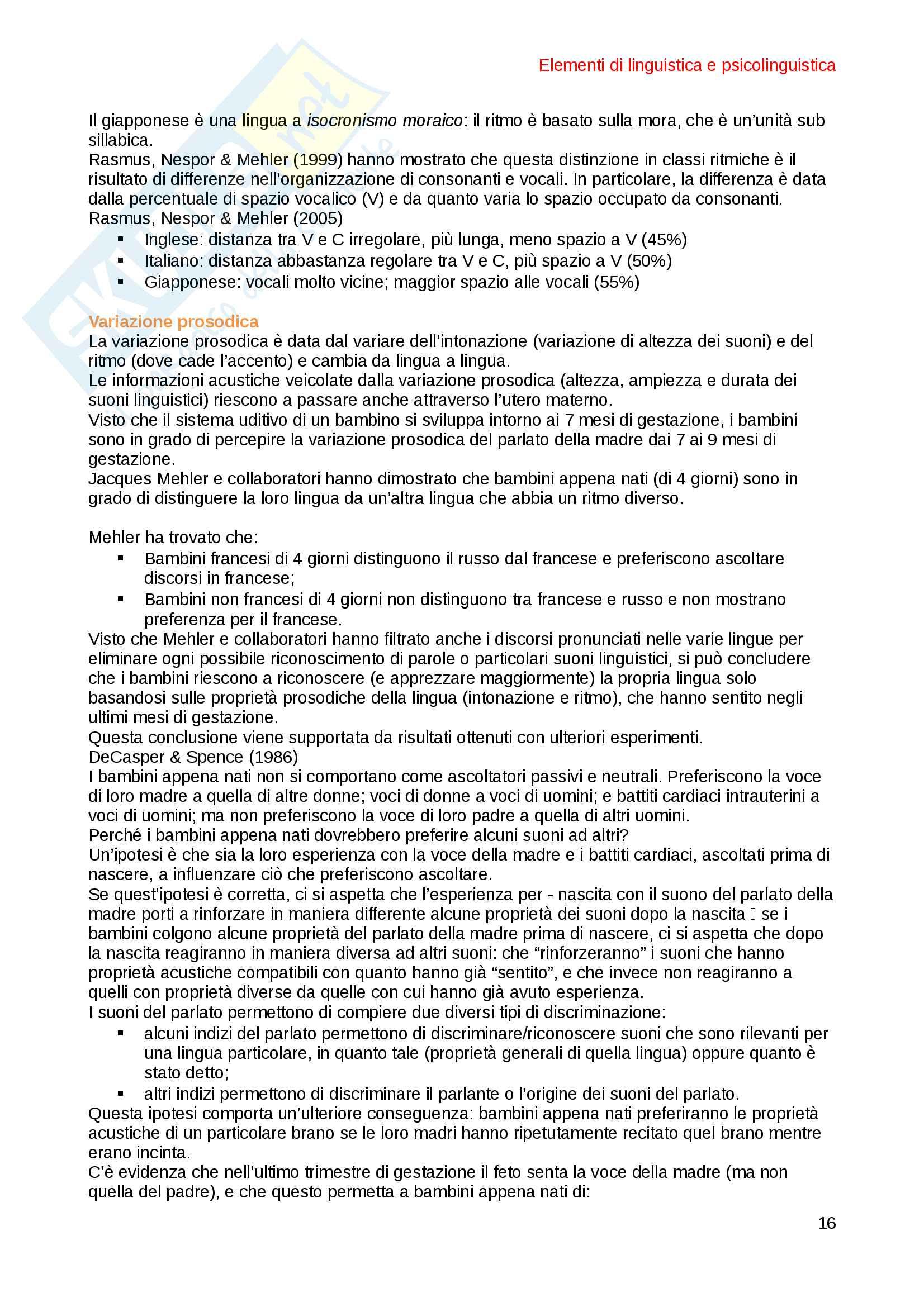 Elementi di Linguistica e Psicolinguistica Pag. 16