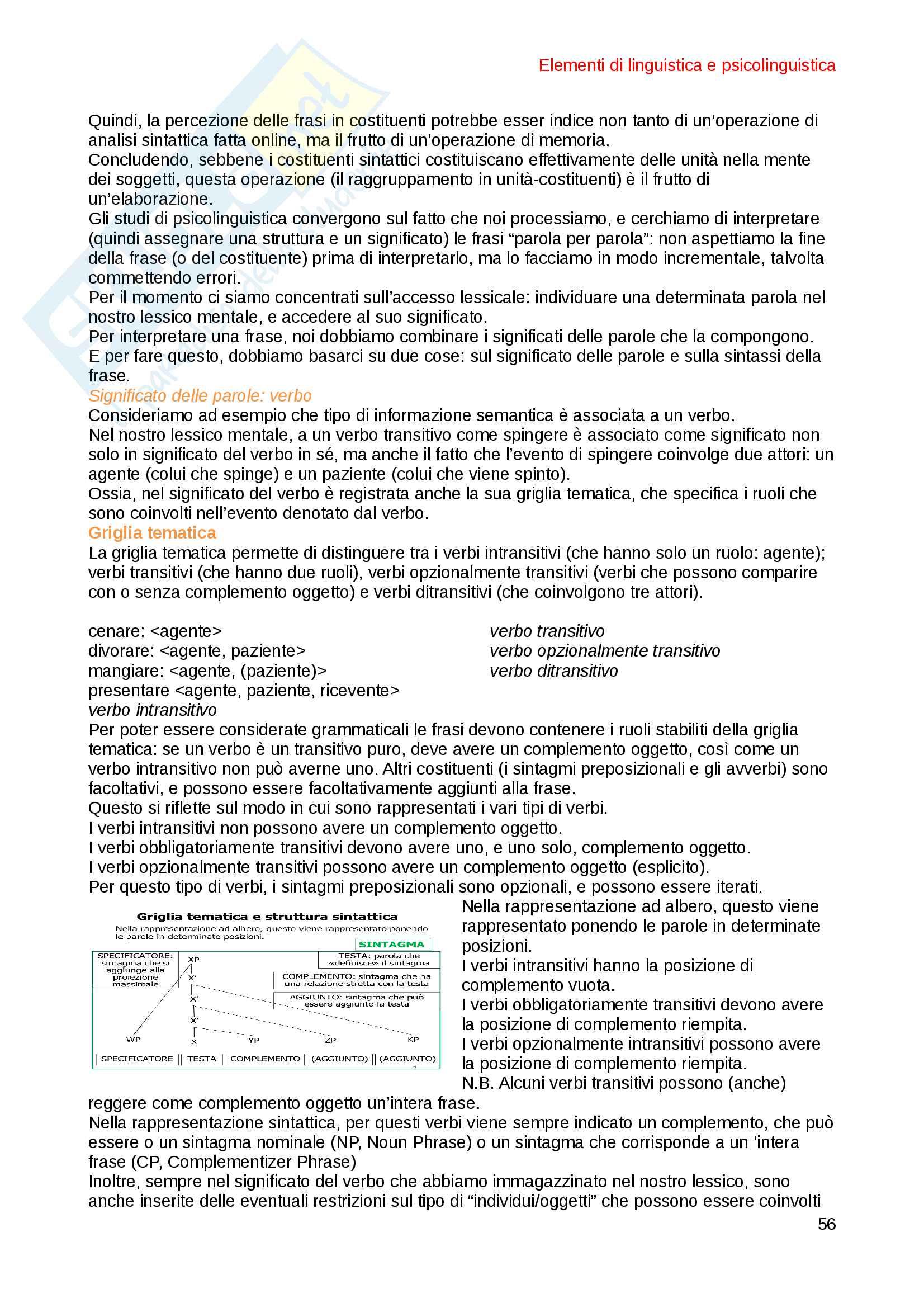 Elementi di Linguistica e Psicolinguistica Pag. 56
