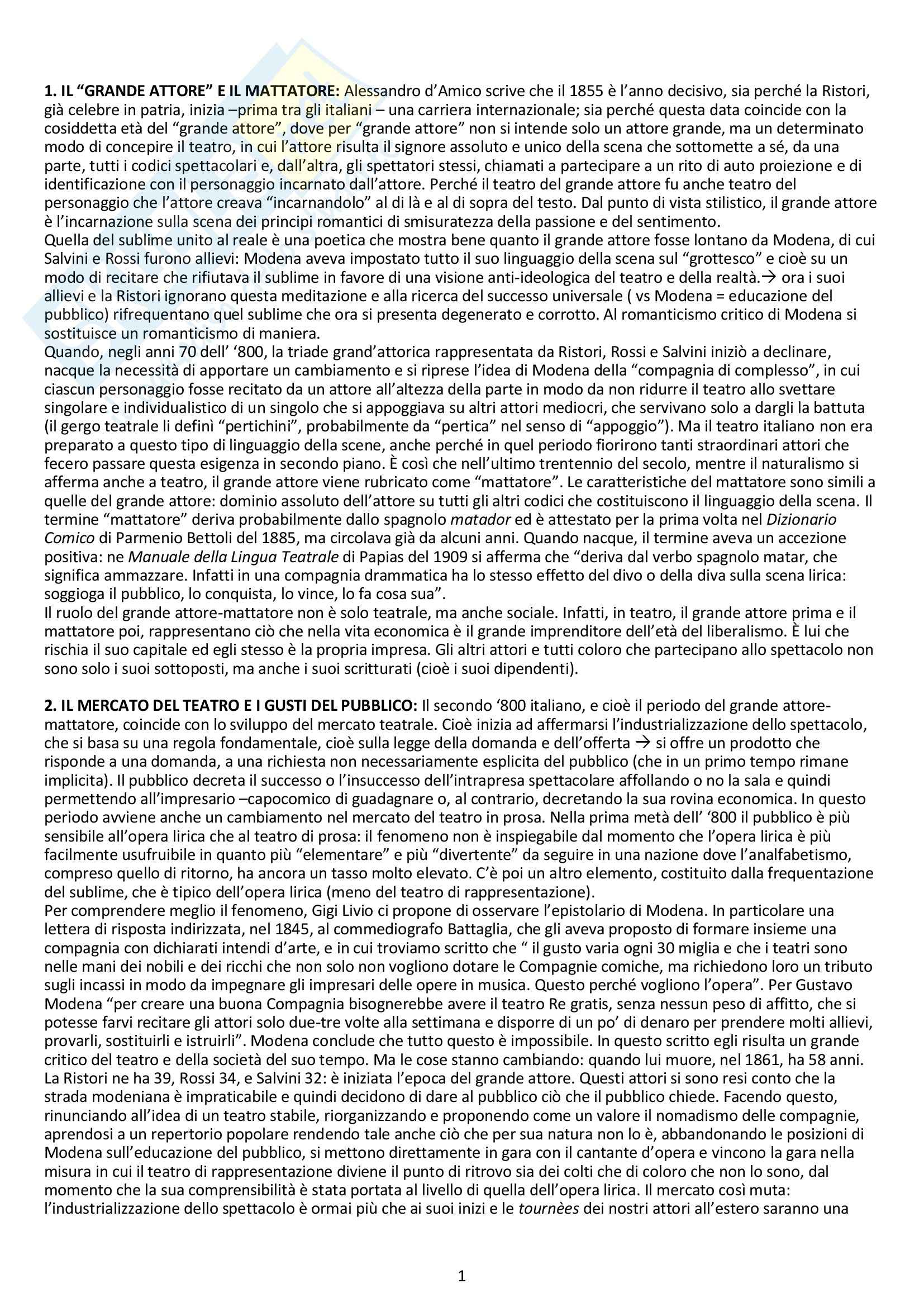 Riassunto esame Storia del Teatro e dello Spettacolo, prof. Pietrini, libro consigliato Il Teatro del Grande Attore e del Mattatore di Livio