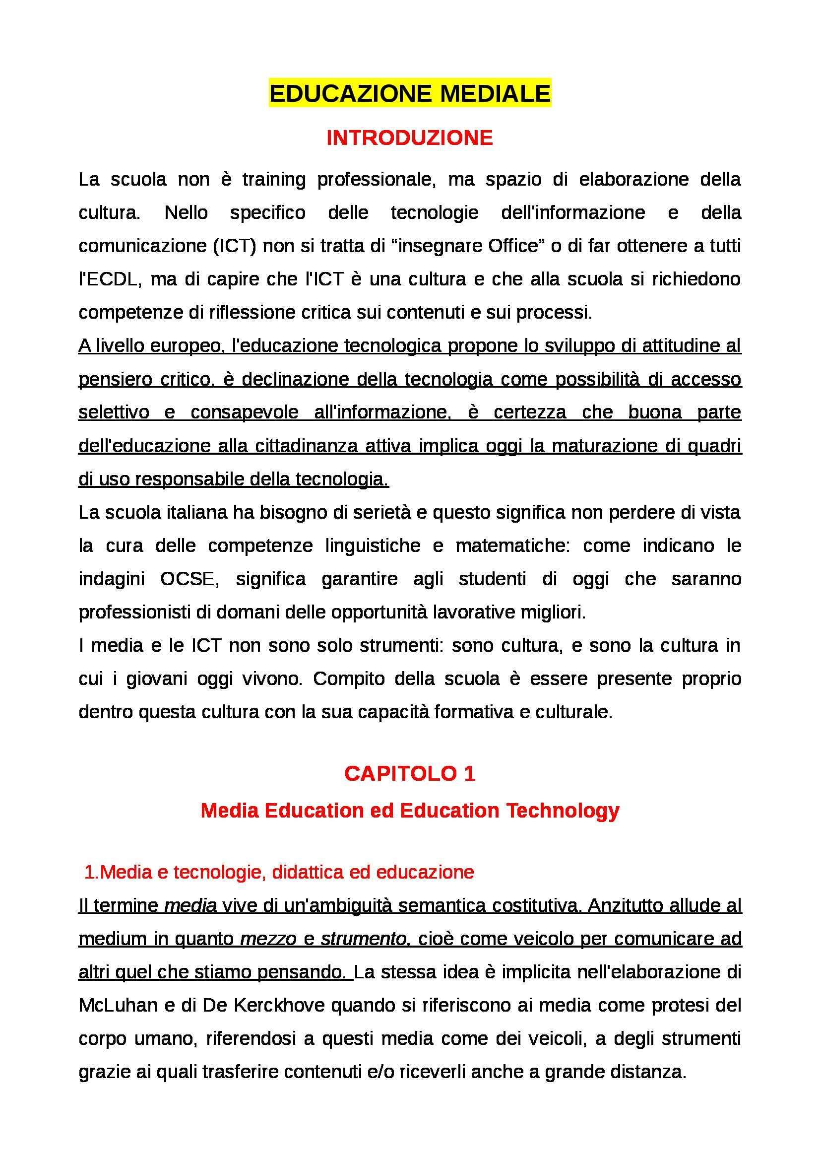 Riassunto esame Educazione mediale, prof. Faiella, libro consigliato Media e tecnologie per la didattica, Ardizzone, Rivoltella