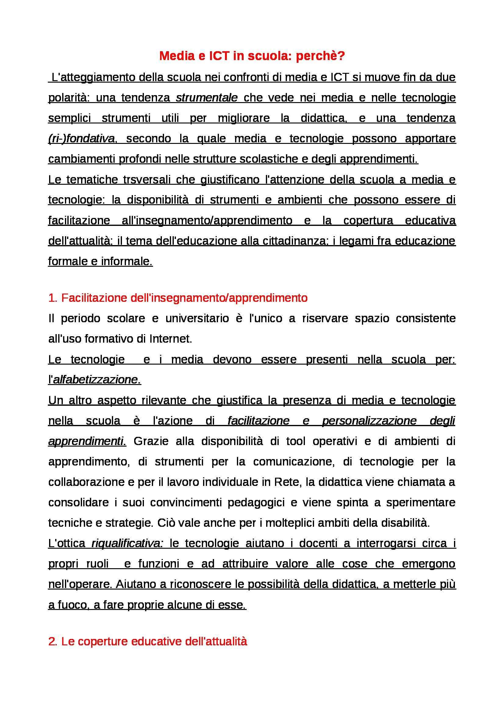 Riassunto esame Educazione mediale, prof. Faiella, libro consigliato Media e tecnologie per la didattica, Ardizzone, Rivoltella Pag. 11