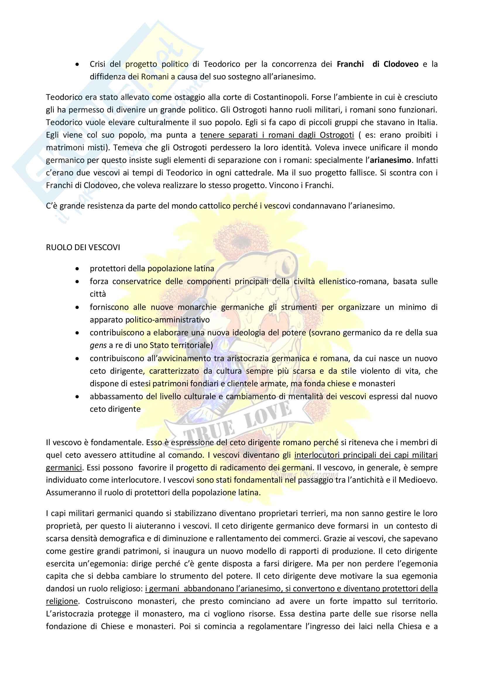 Appunti Storia medievale, prof Vitolo, libro consigliato: Medioevo, i caratteri originali di un'età di transizione Pag. 16