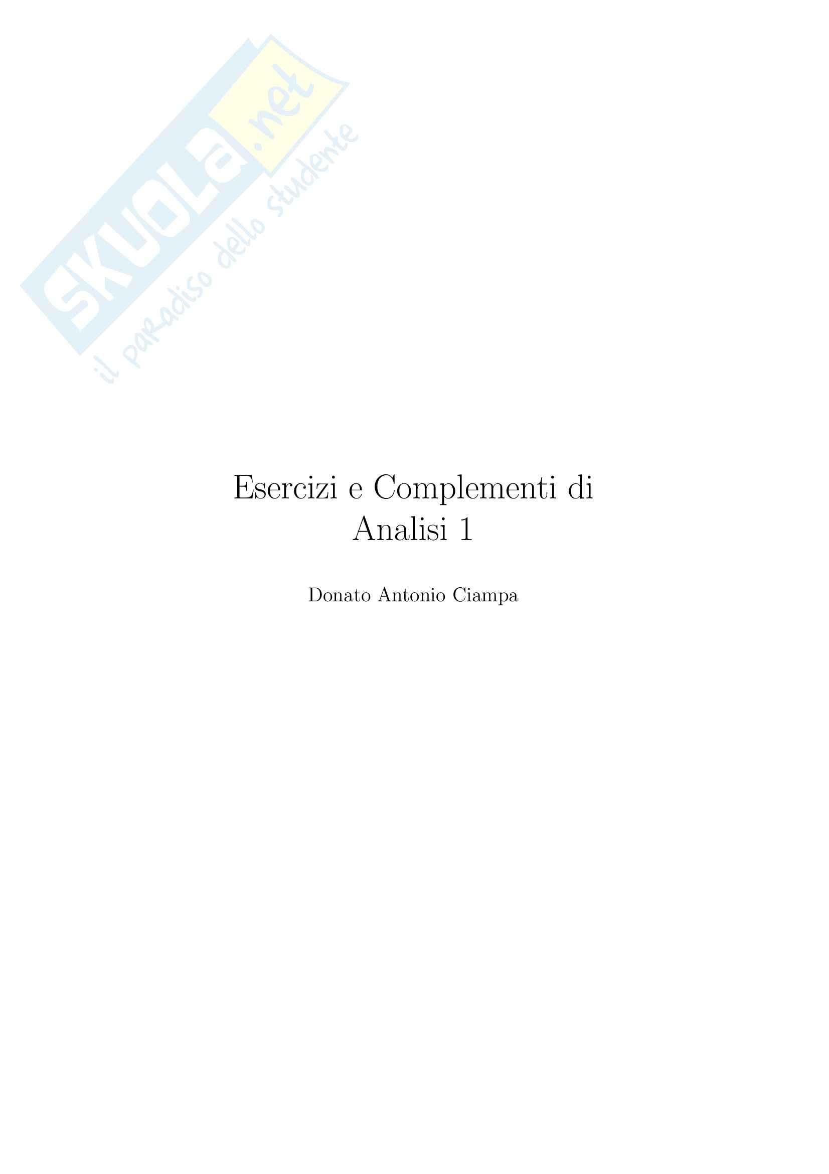 appunto D. Ciampa Analisi matematica 1
