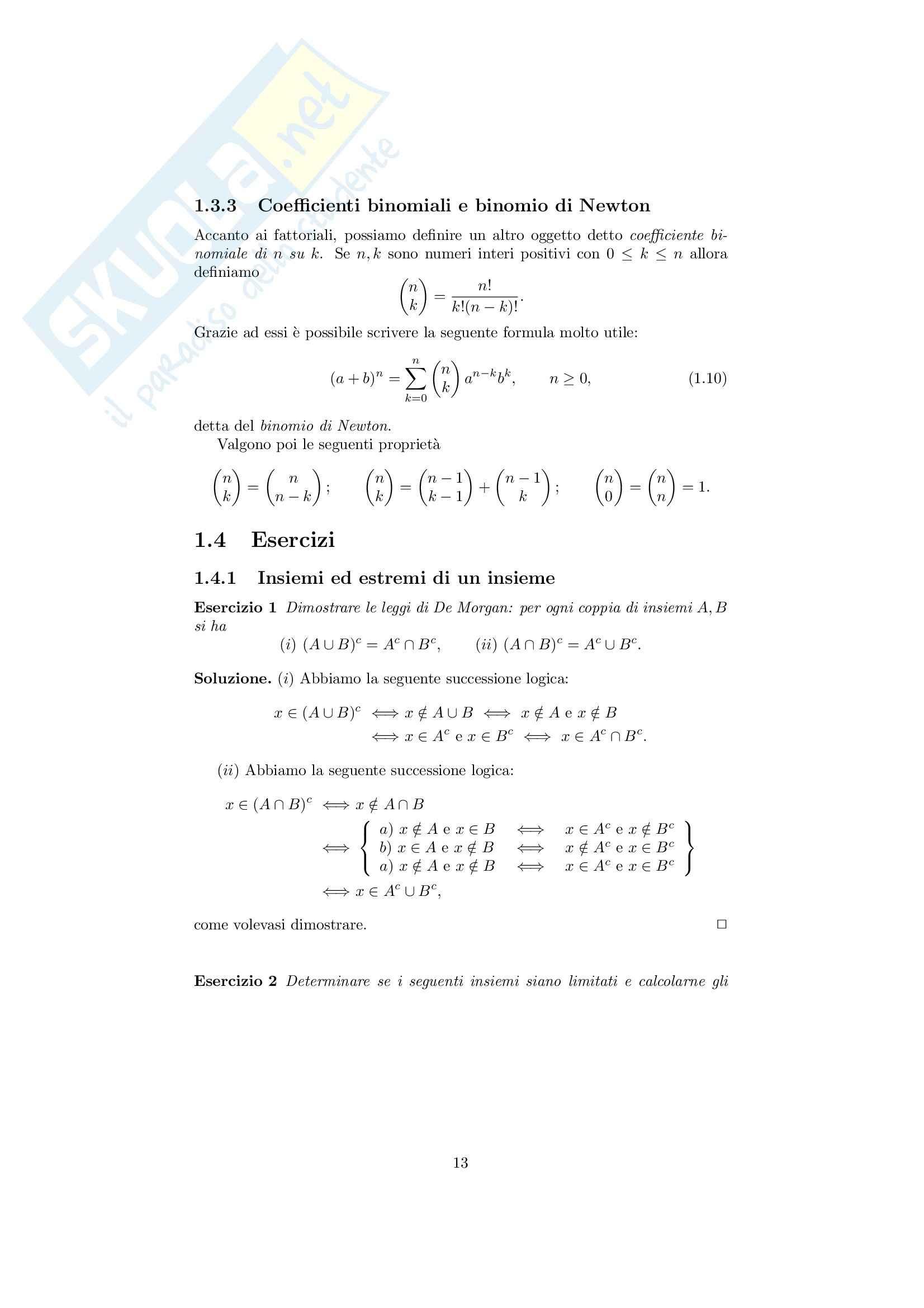 Analisi matematica 1 - Note ed esercizi svolti su Insiemi, numeri reali e Principio di Induzione Pag. 16