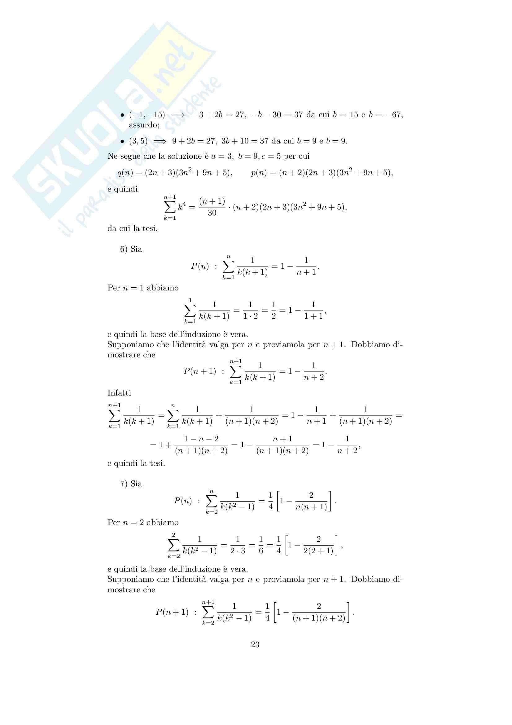 Analisi matematica 1 - Note ed esercizi svolti su Insiemi, numeri reali e Principio di Induzione Pag. 26