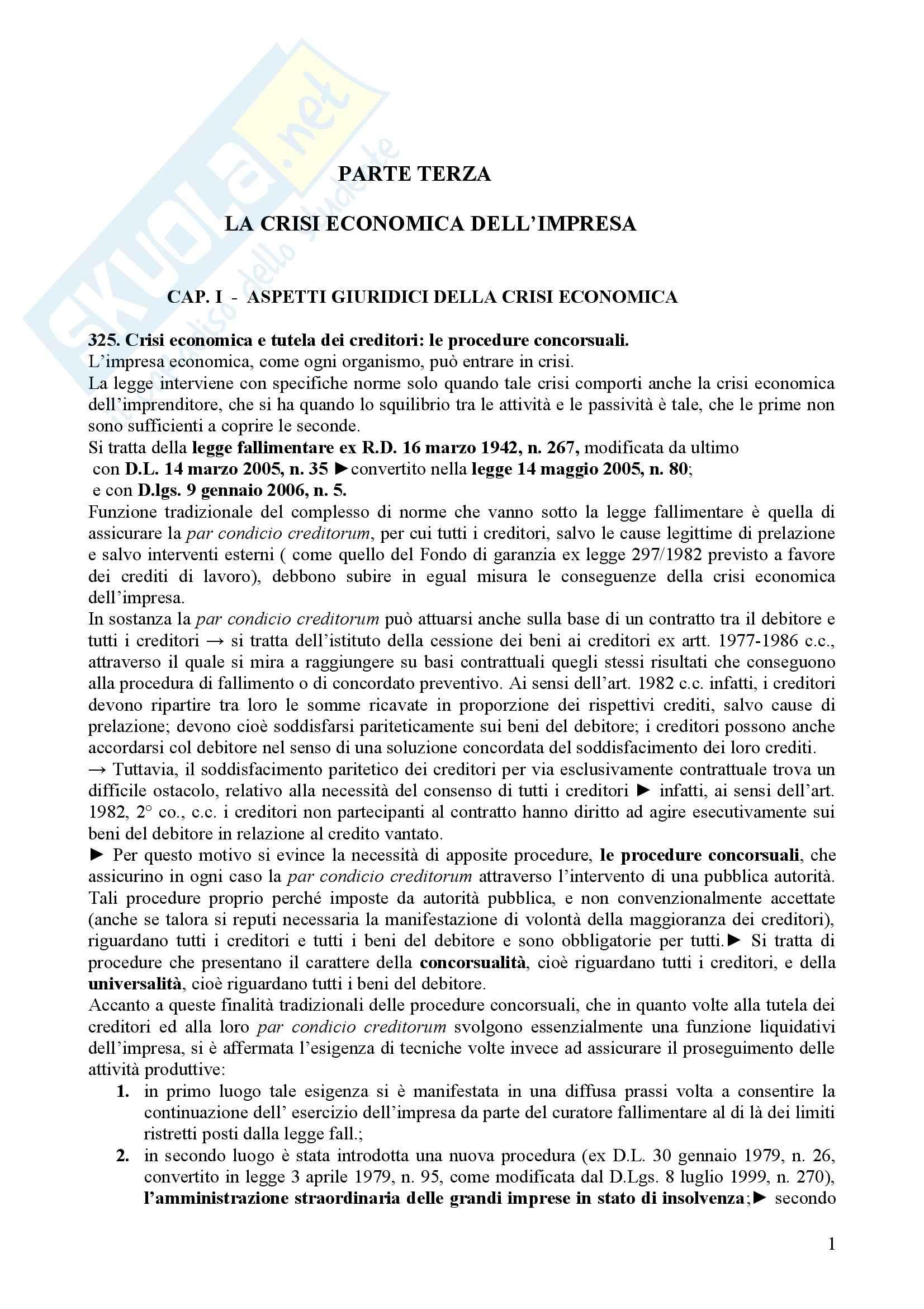Riassunto esame Diritto Commerciale, prof. Notari, libro consigliato Crisi dell'Impresa, Ferri