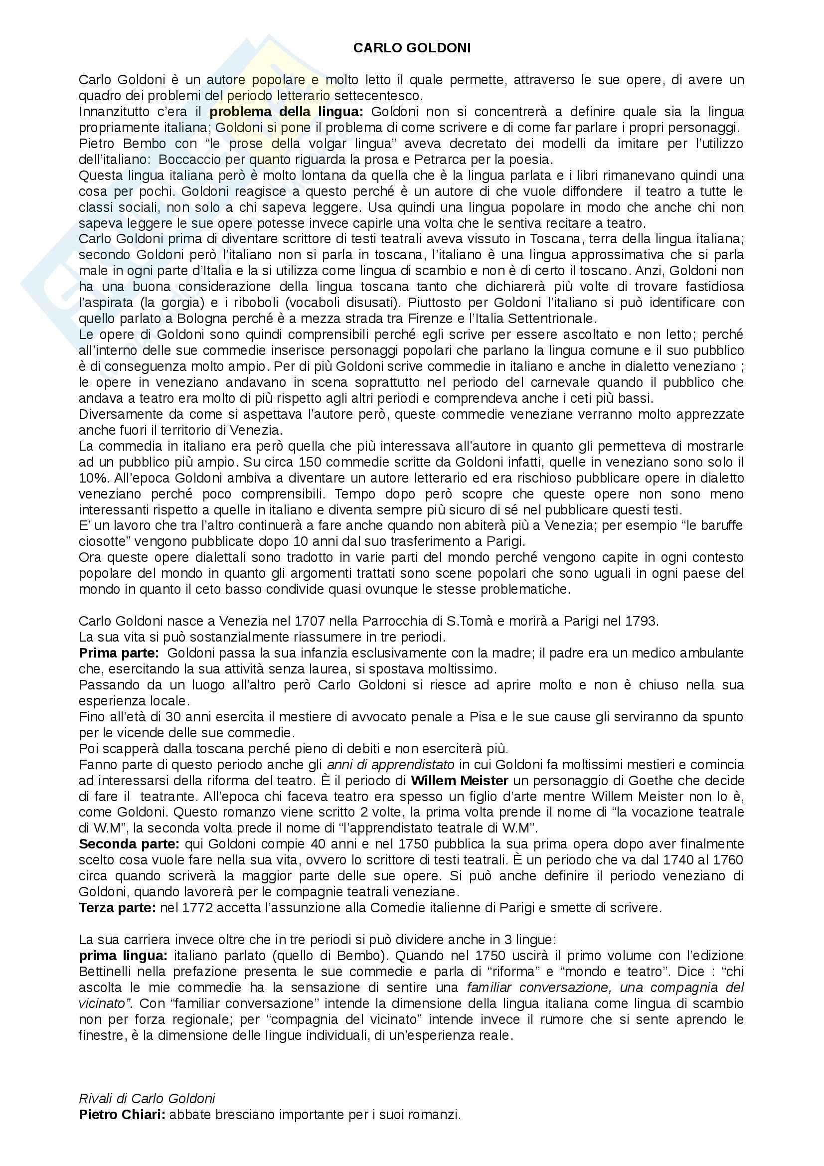 Letteratura italiana - Goldoni e opere