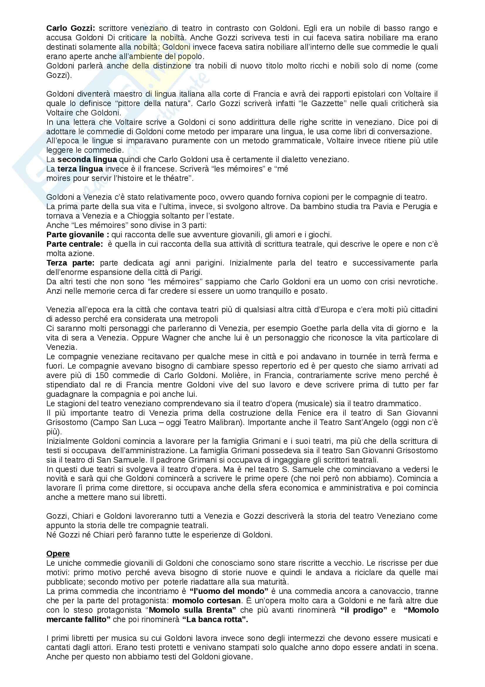 Letteratura italiana - Goldoni e opere Pag. 2