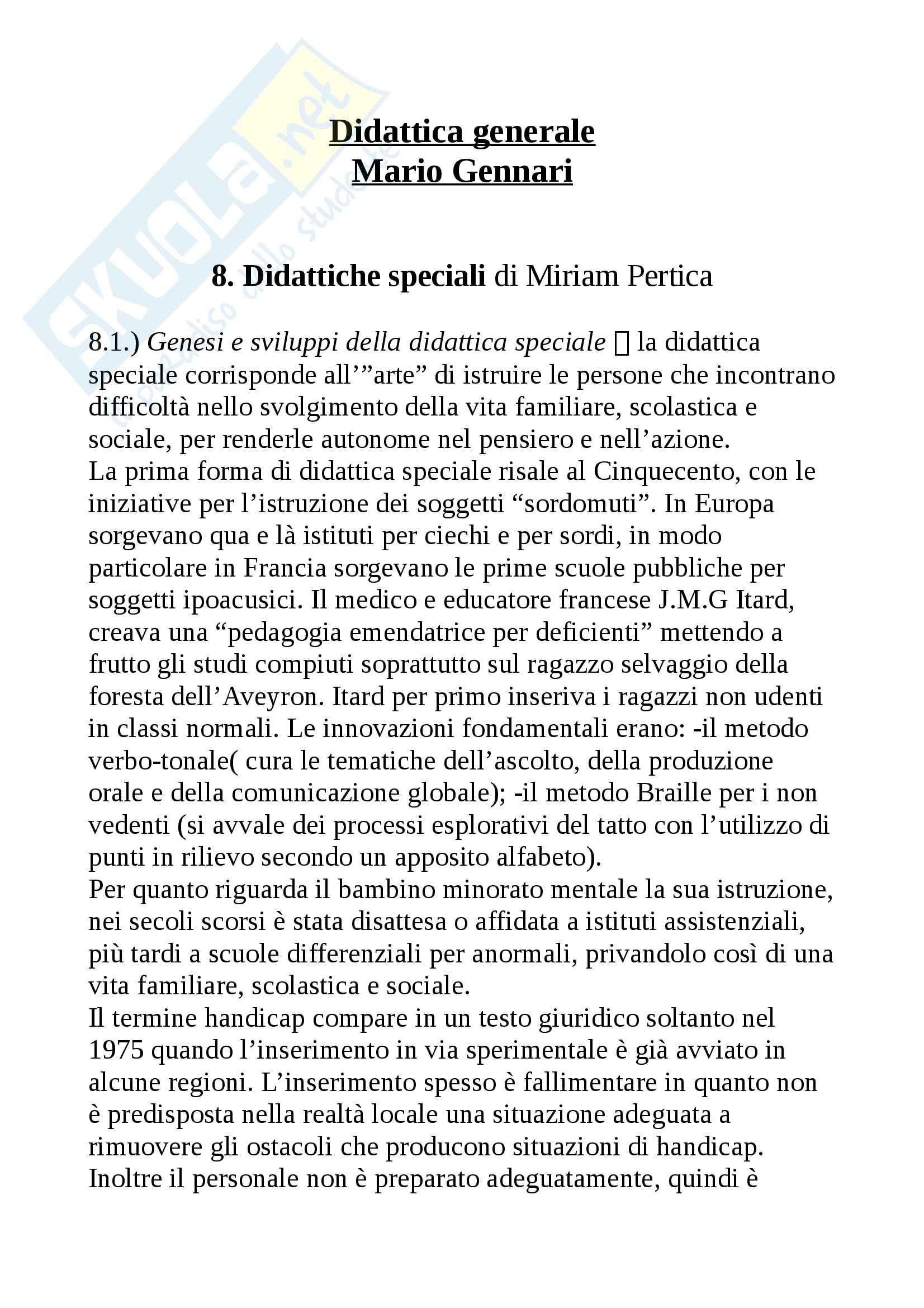Riassunto esame Didattica generale, prof. Isidori, libro consigliato Didattica generale, Gennari
