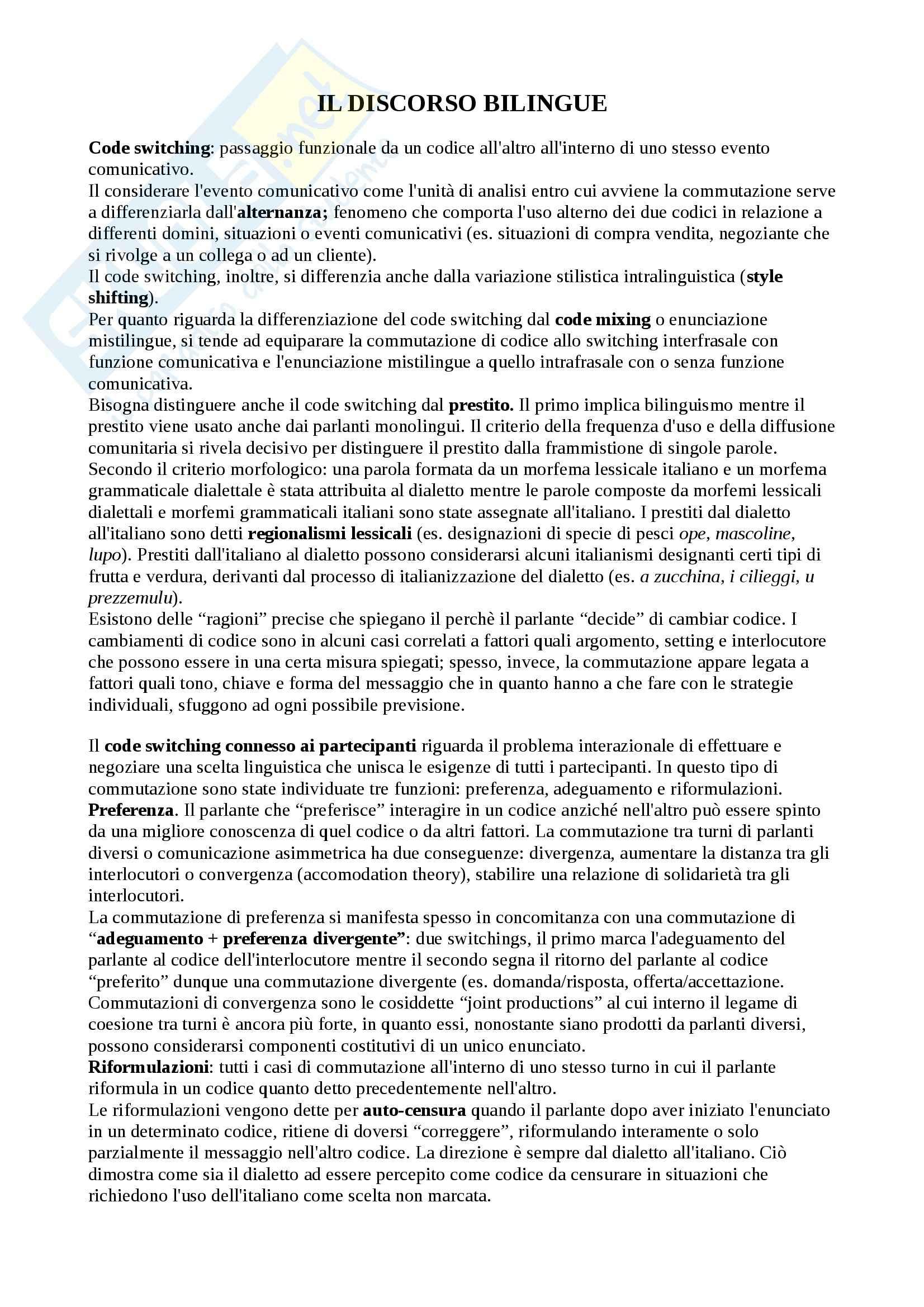 Riassunto esame sociolinguistica, prof. Alfonzetti, libro consigliato Il discorso bilingue e i giovani, Alfonzetti