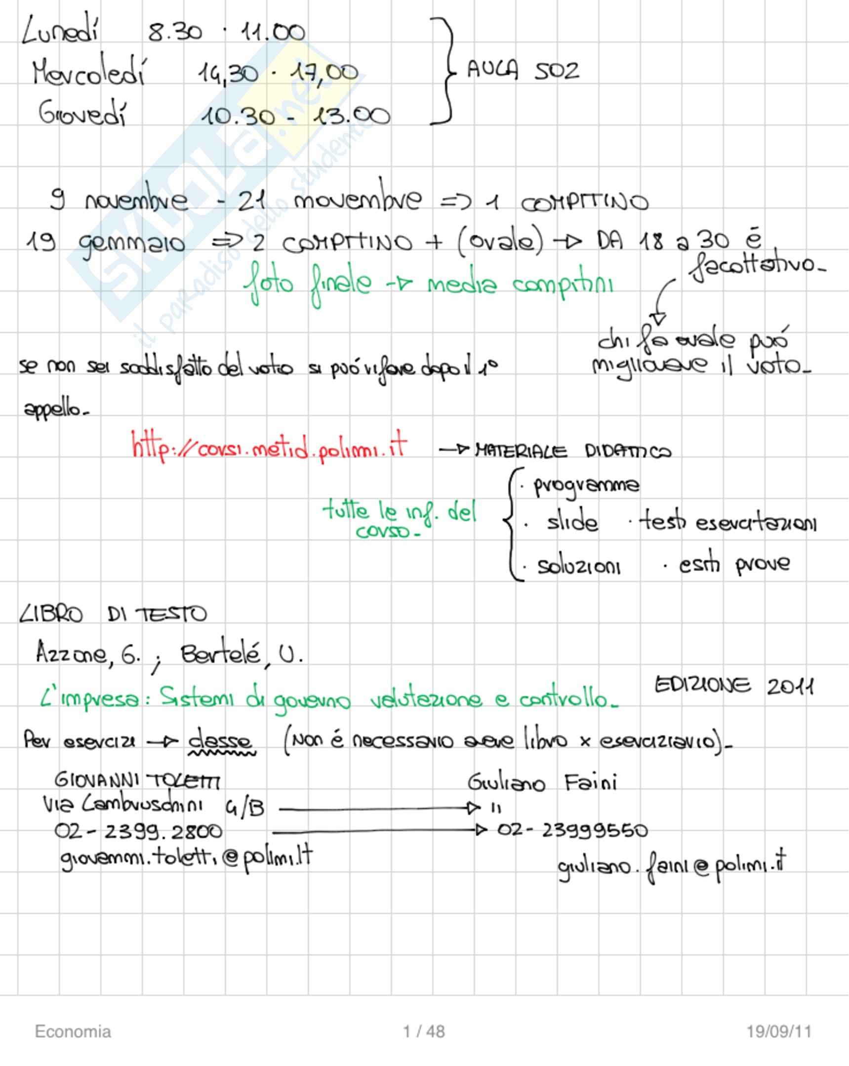 Economia - Appunti
