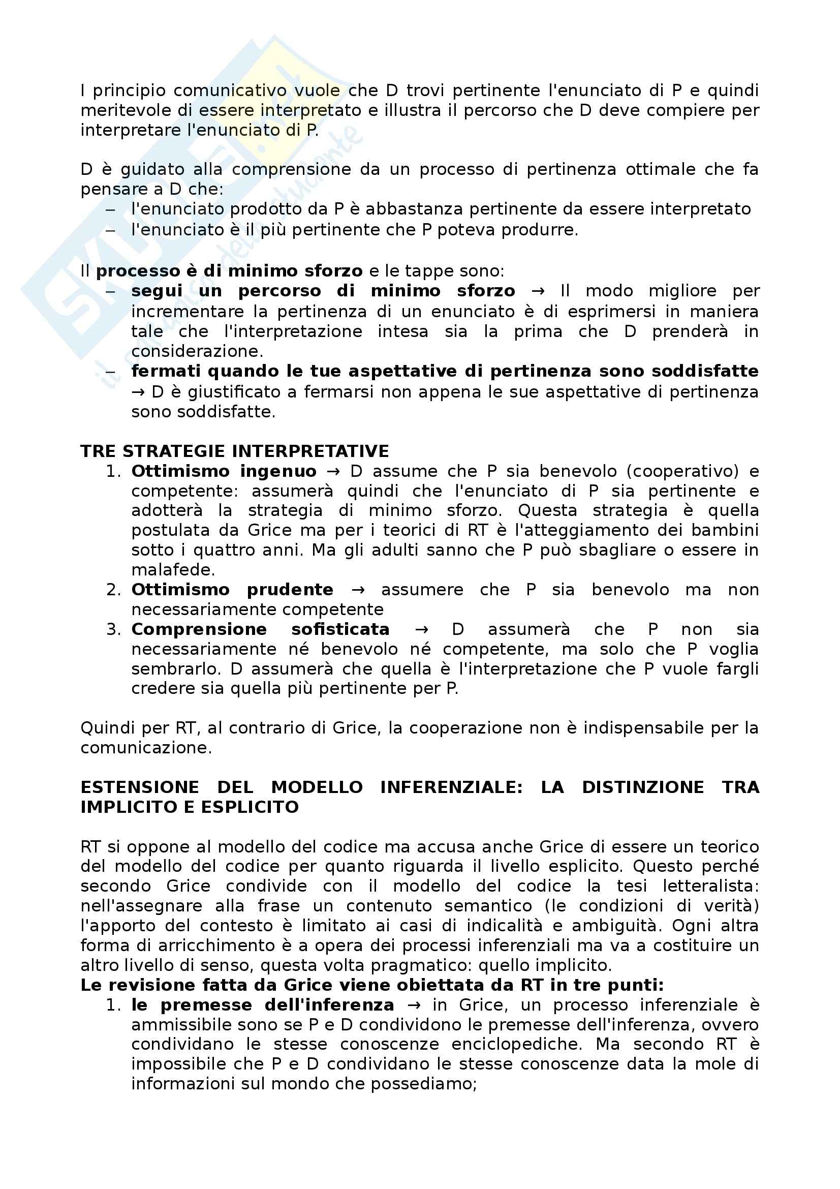 Riassunto esame Semiotica, prof. Calabi, libro consigliato Pragmatica Cognitiva, Bianchi Pag. 16