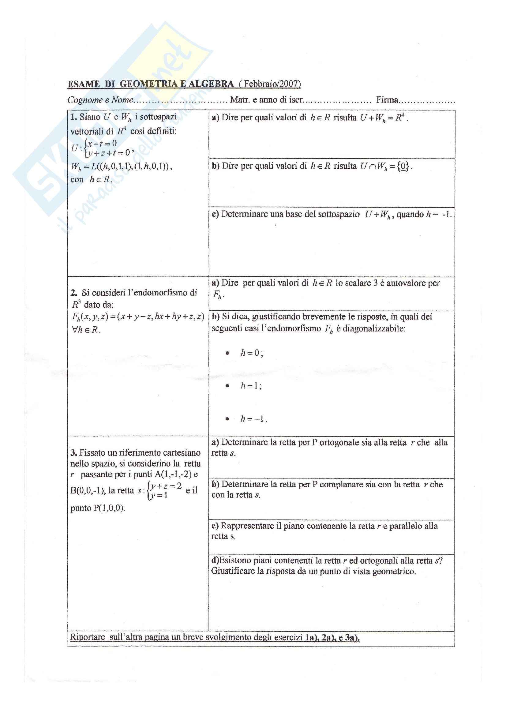 Algebra e Geometria - esercizi