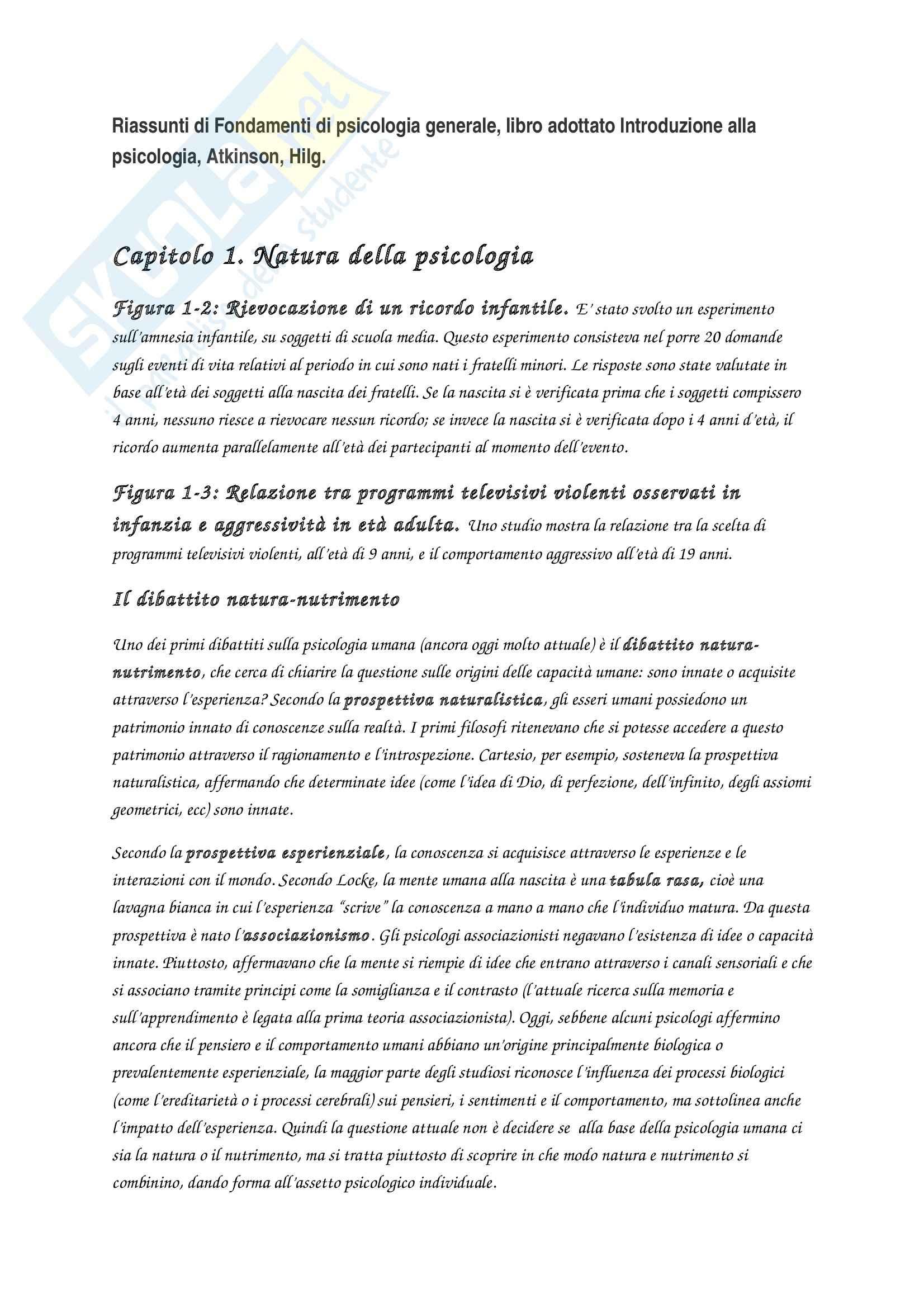 Riassunto esame Fondamenti di psicologia generale, prof. Velardi, libro consigliato Introduzione alla psicologia, Atkinson, Hilg