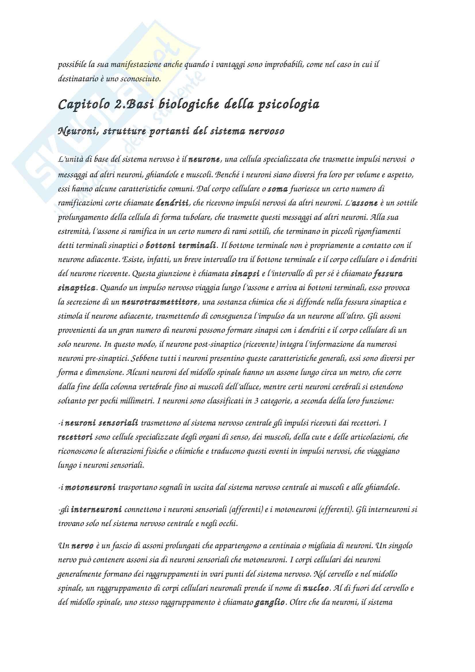 Riassunto esame Fondamenti di psicologia generale, prof. Velardi, libro consigliato Introduzione alla psicologia, Atkinson, Hilg Pag. 6